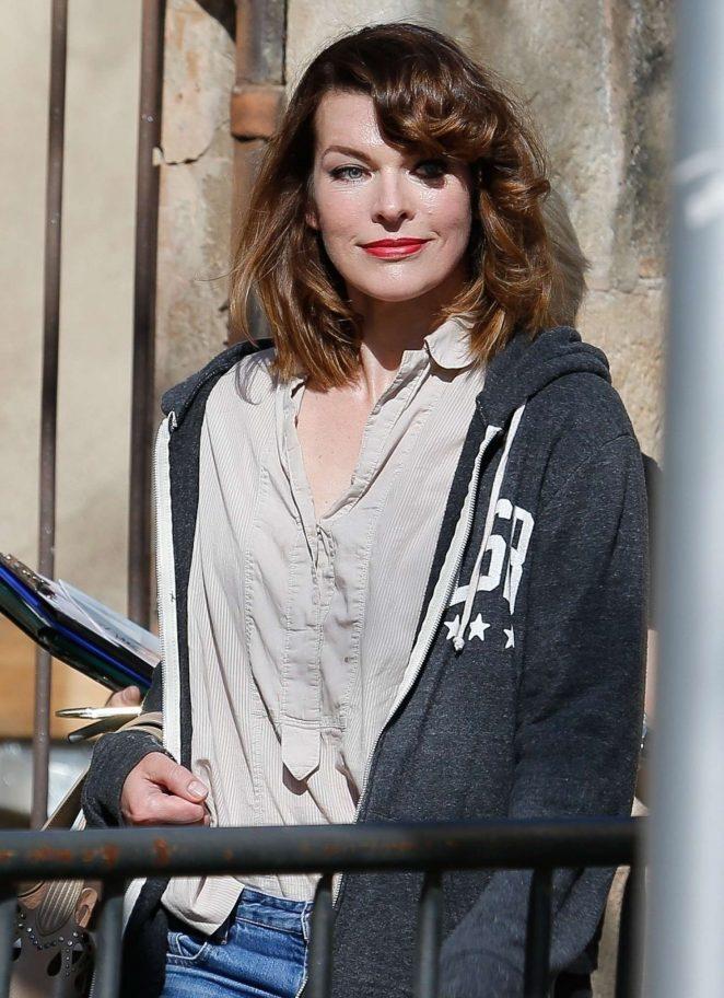 Milla Jovovich out in Barcelona