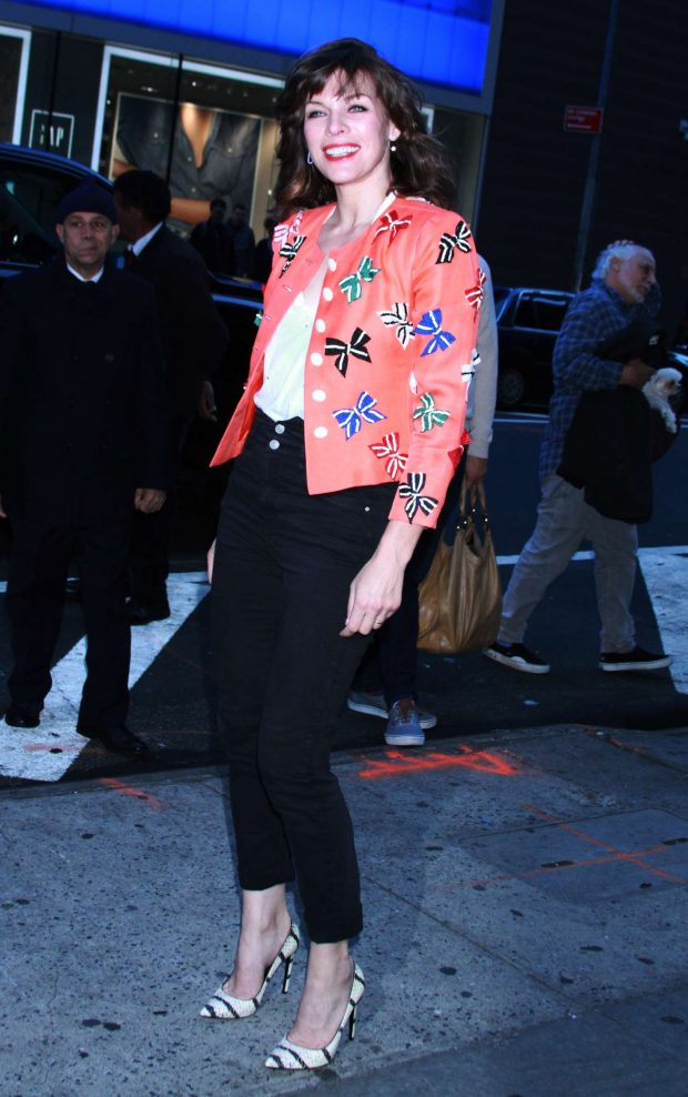 Milla Jovovich - Outside Good Morning America in NYC