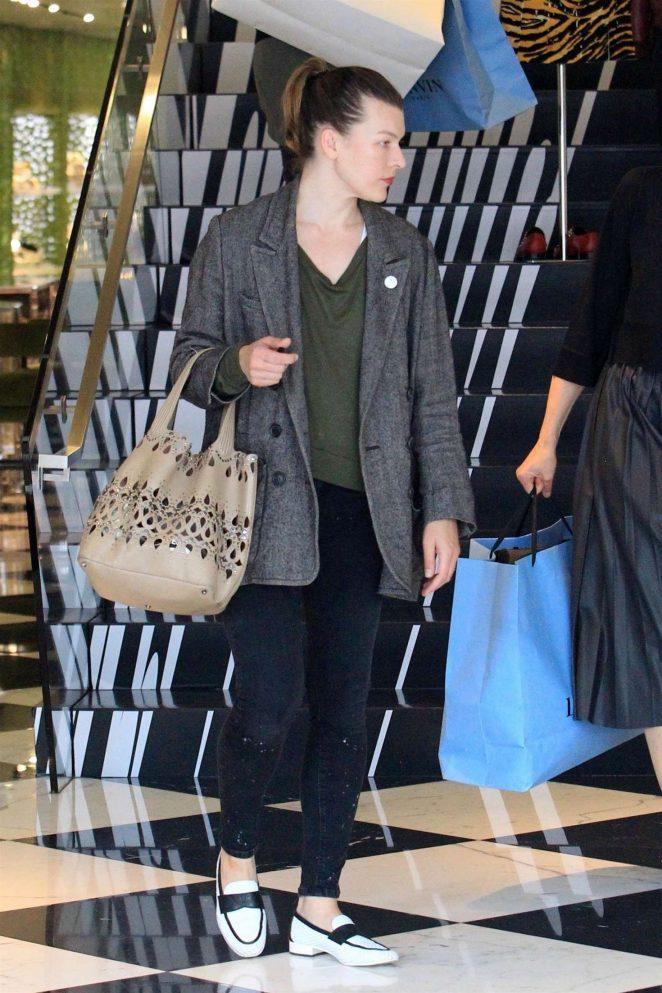 Milla Jovovich - Shopping at Prada store in Beverly Hills