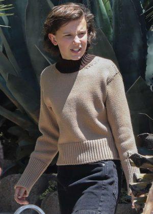 Millie Bobby Brown - Filming 'Black Dhalia House' in Los Angeles