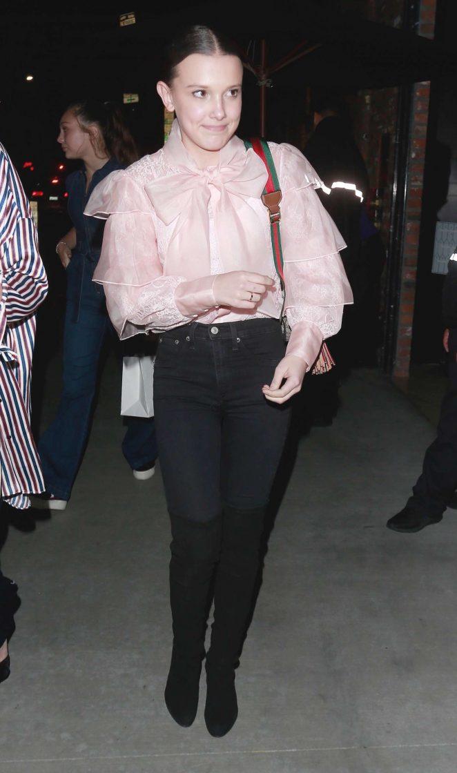 Millie Bobby Brown - Leaving Tao Restaurant in Los Angeles