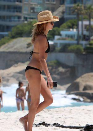 Millie Mackintosh in Black Bikini on the beach in South Africa
