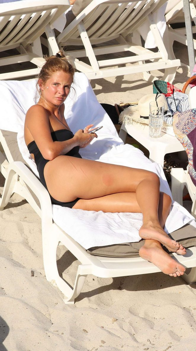 Millie Mackintosh in Black Swimsuit in France
