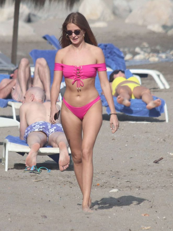 Millie Mackintosh in Pink Bikini on the beach in Marbella