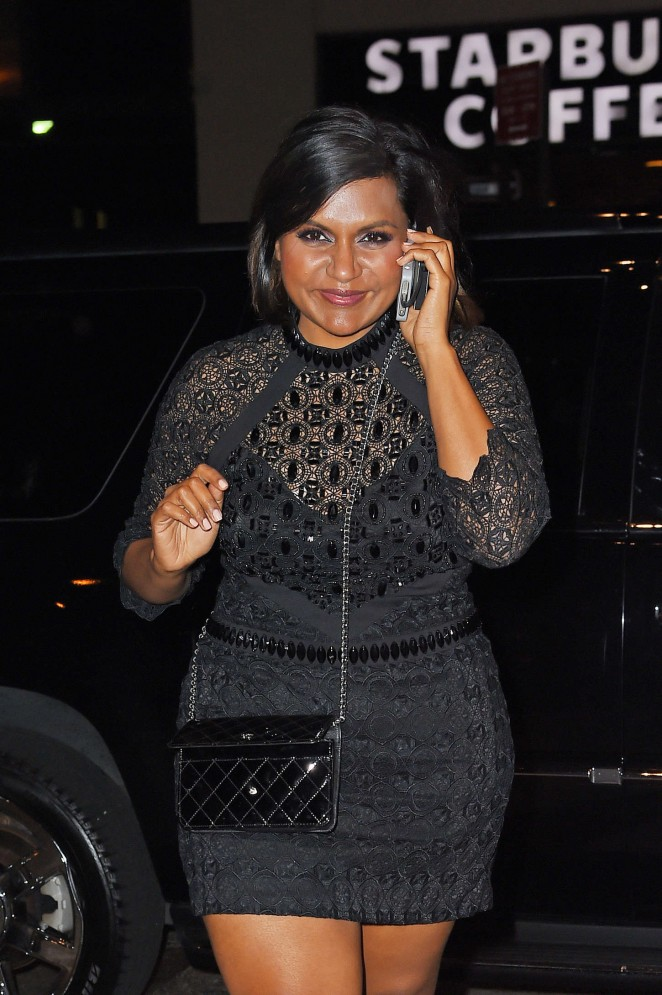 Mindy Kaling in Tight Mini Dress Out in Soho