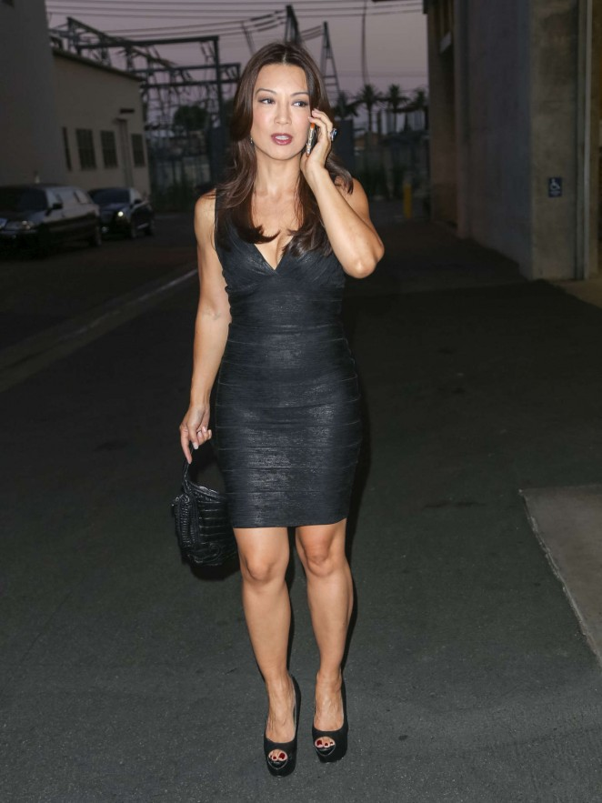 Ming-Na Wen in Black Mini Dress at a Studio in LA