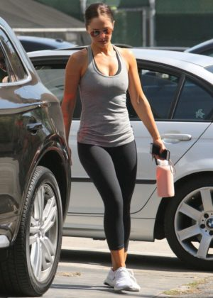 Minka Kelly after workout in Beverly Hills