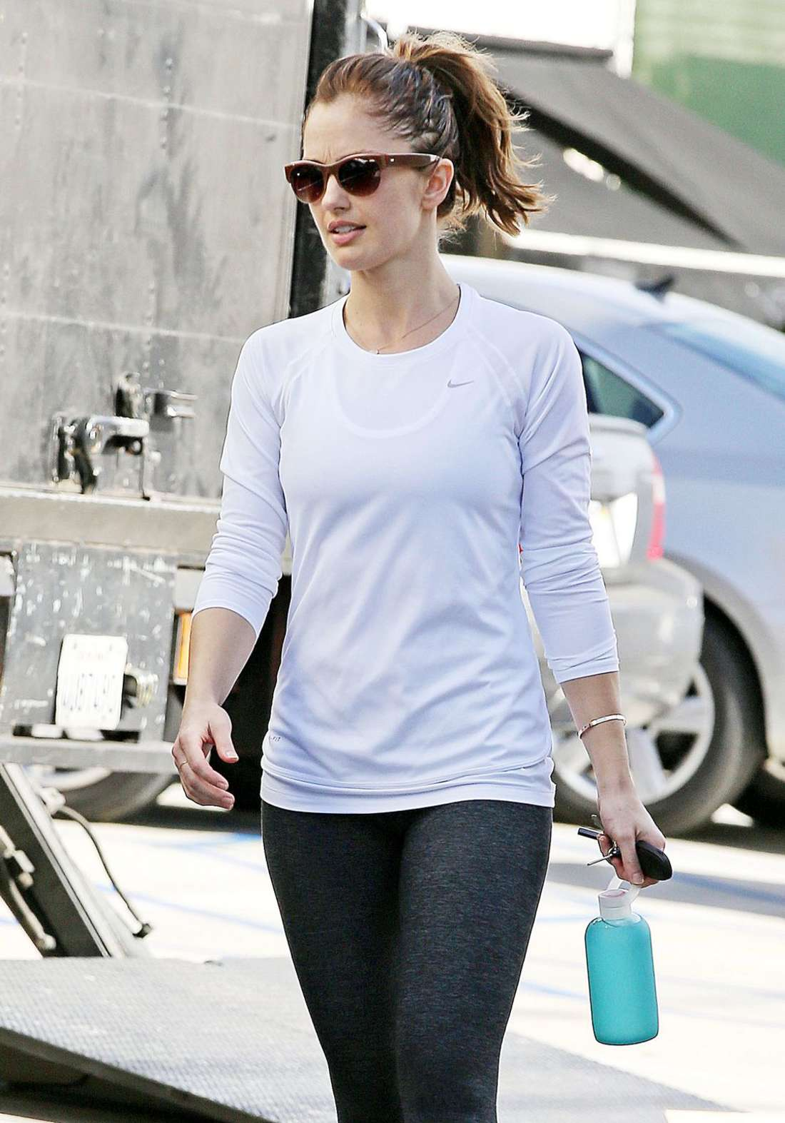 Minka Kelly in Tights at Gym in West Hollywood