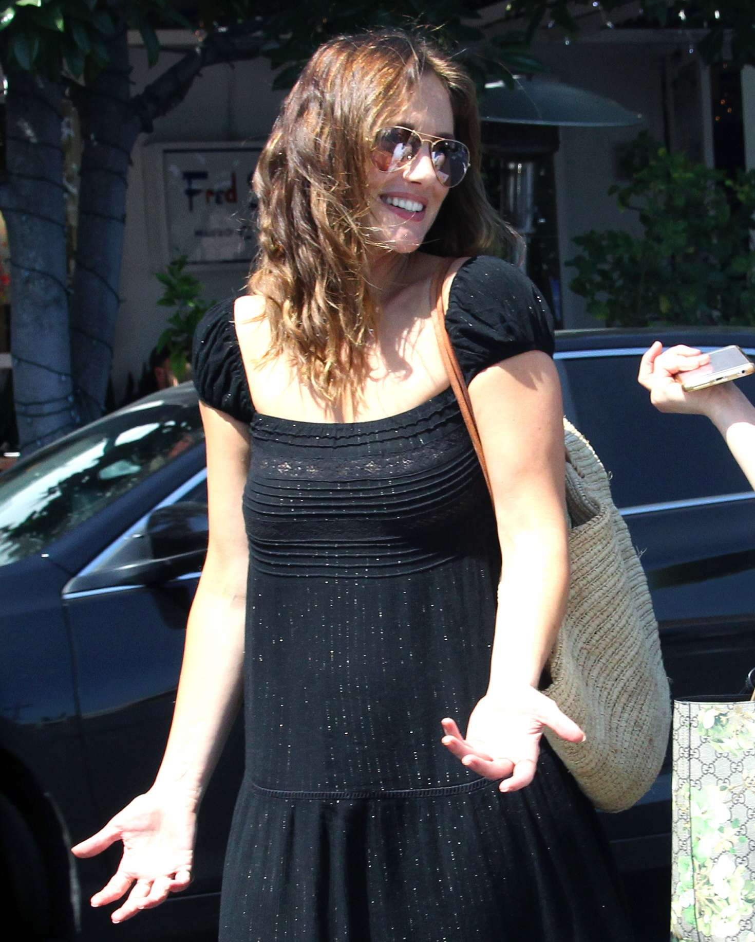 Minka Kelly in Black Dress out for lunch in West Hollywood