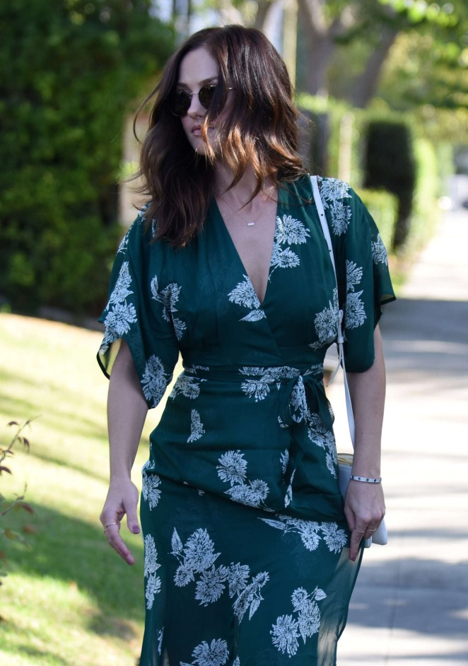 Minka Kelly in Green Dress out in Hancock park