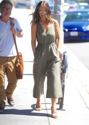 Minka Kelly in green jumpsuit out in Los Angeles