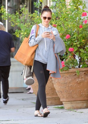 Minka Kelly in Leggings Leaving yoga class in LA