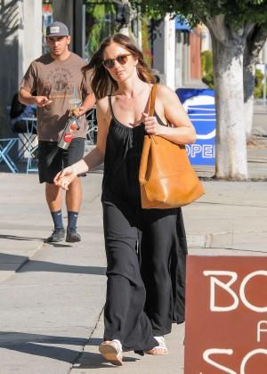 Minka Kelly in Long Black Dress out in Los Angeles