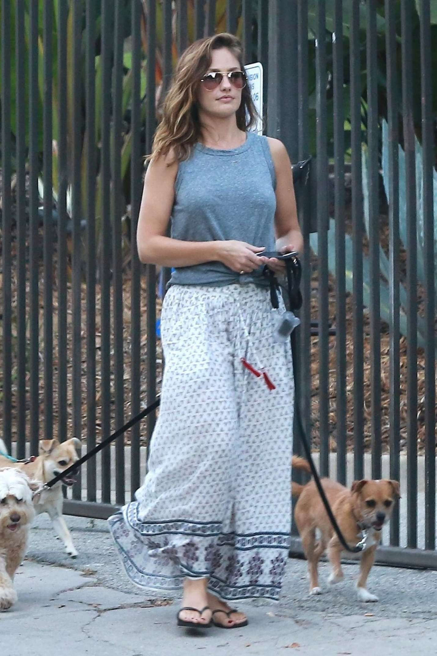 Minka Kelly in Long Skirt with her dogs in Hollywood