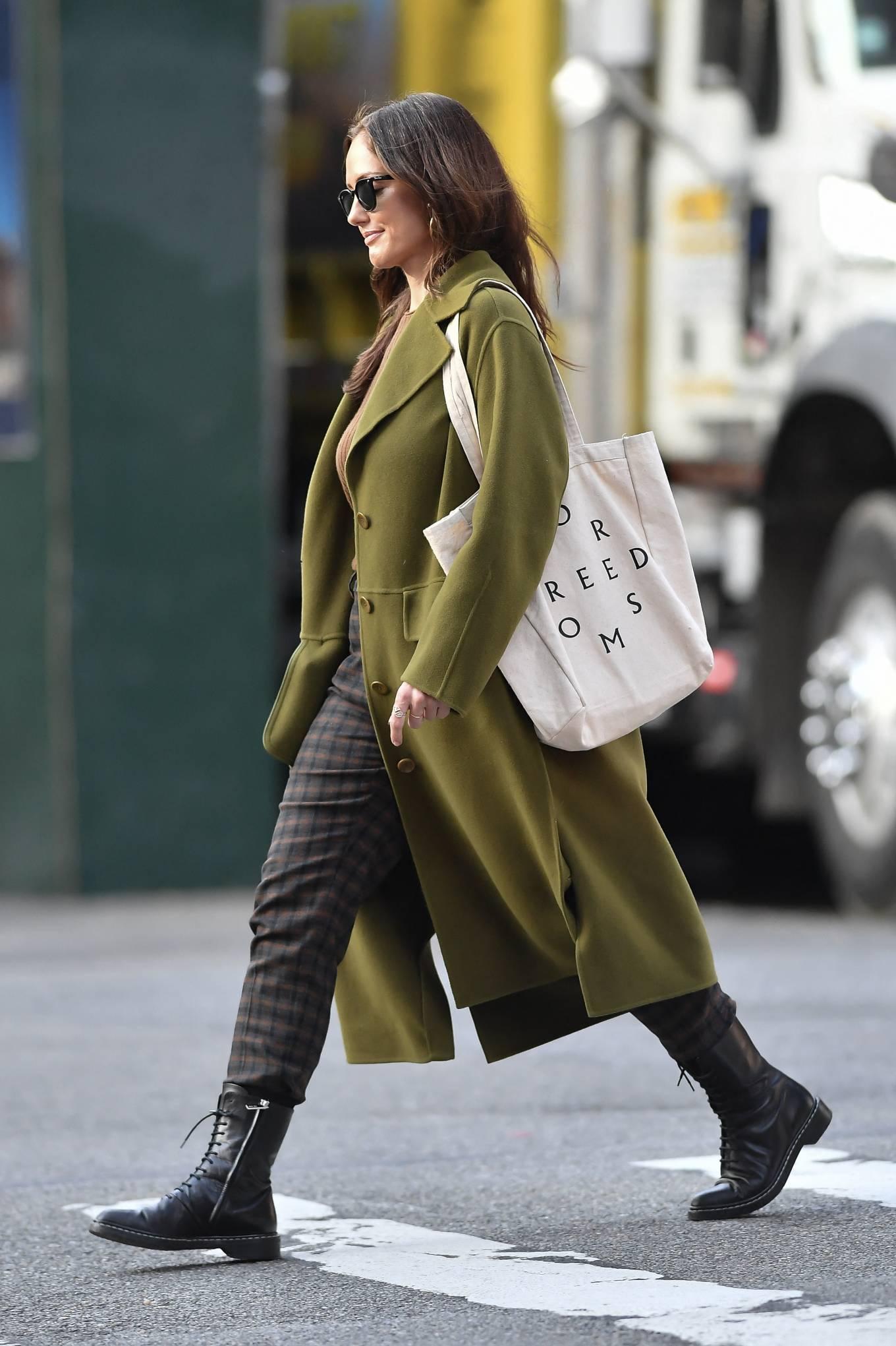 Minka Kelly 2021 : Minka Kelly – In olive green runs errands in New York-01
