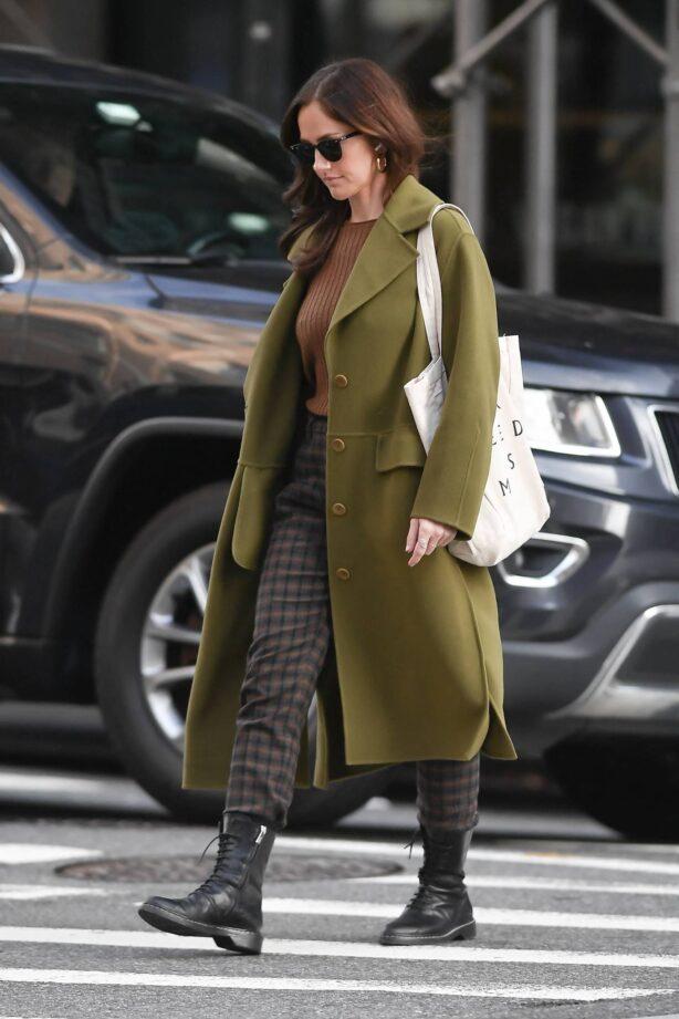 Minka Kelly - In olive green runs errands in New York