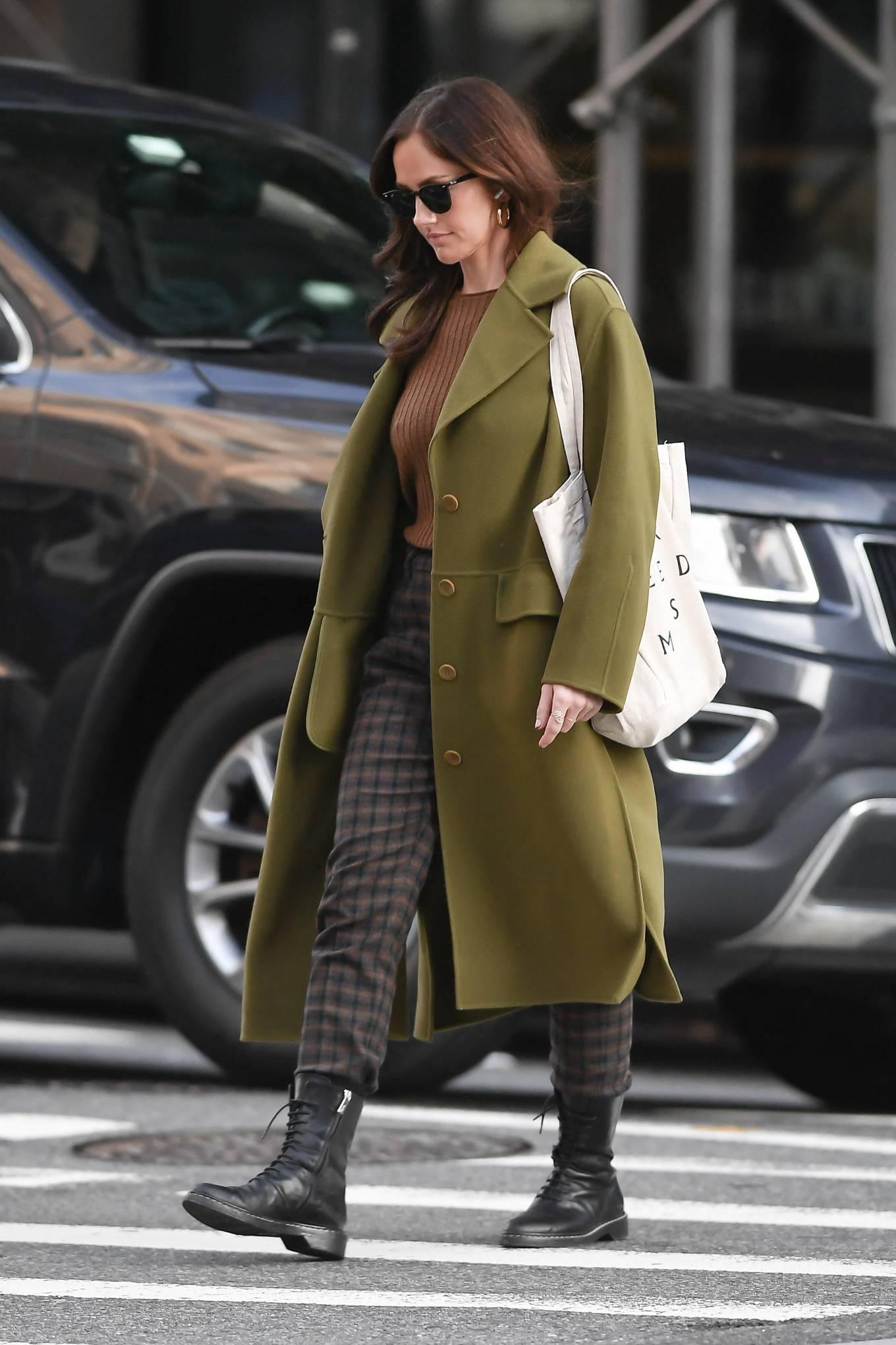 Minka Kelly 2021 : Minka Kelly – In olive green runs errands in New York-02