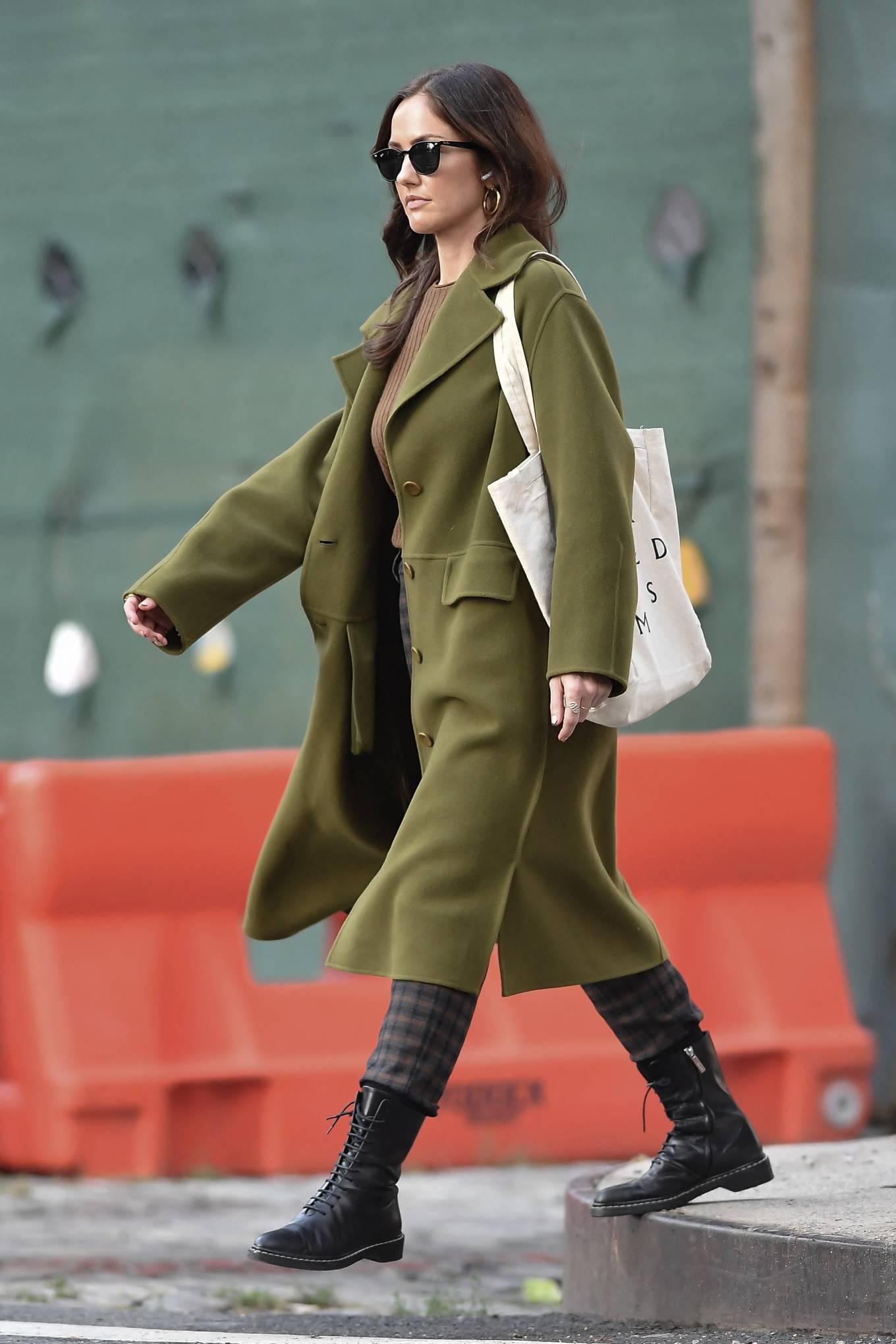 Minka Kelly 2021 : Minka Kelly – In olive green runs errands in New York-03