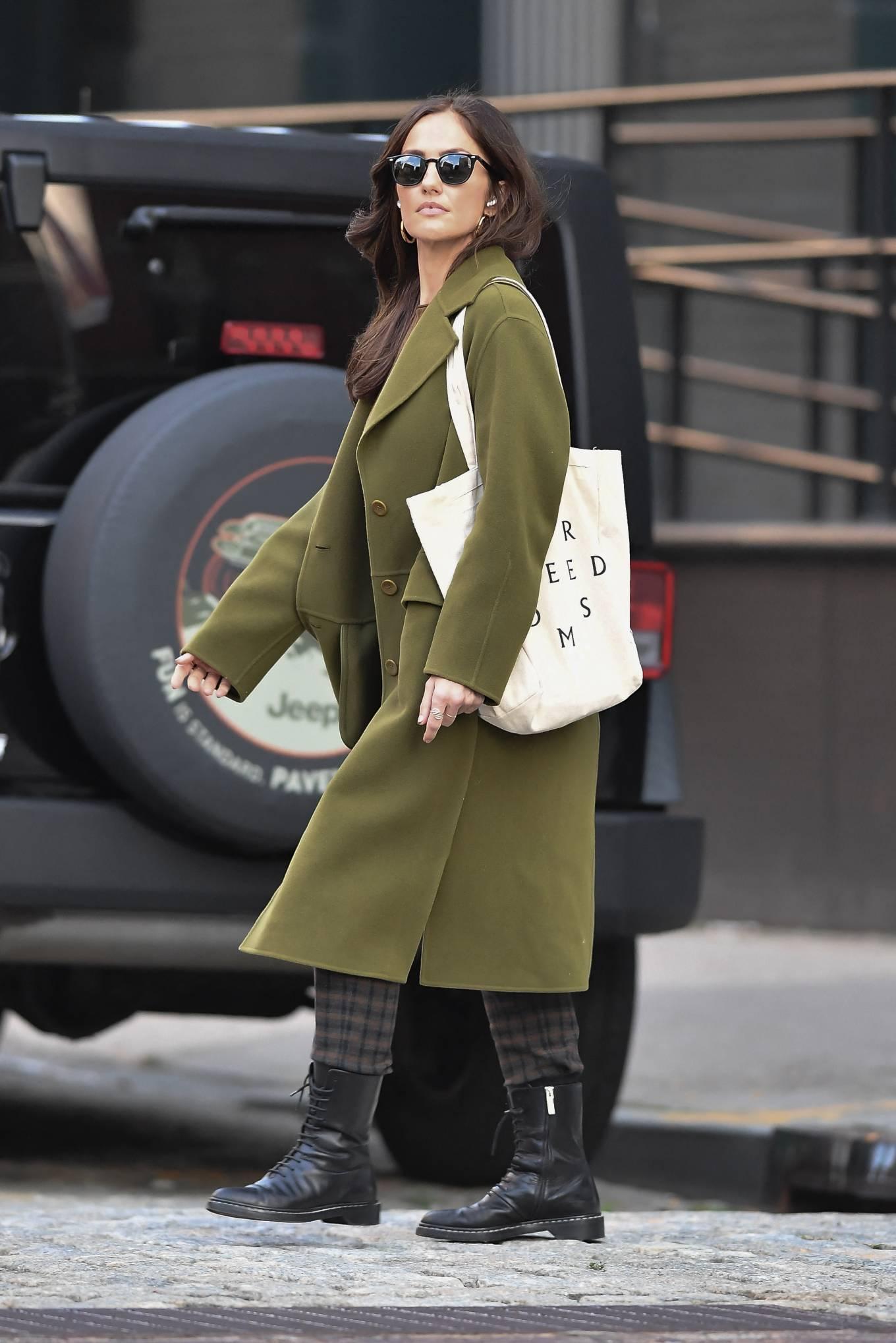 Minka Kelly 2021 : Minka Kelly – In olive green runs errands in New York-04