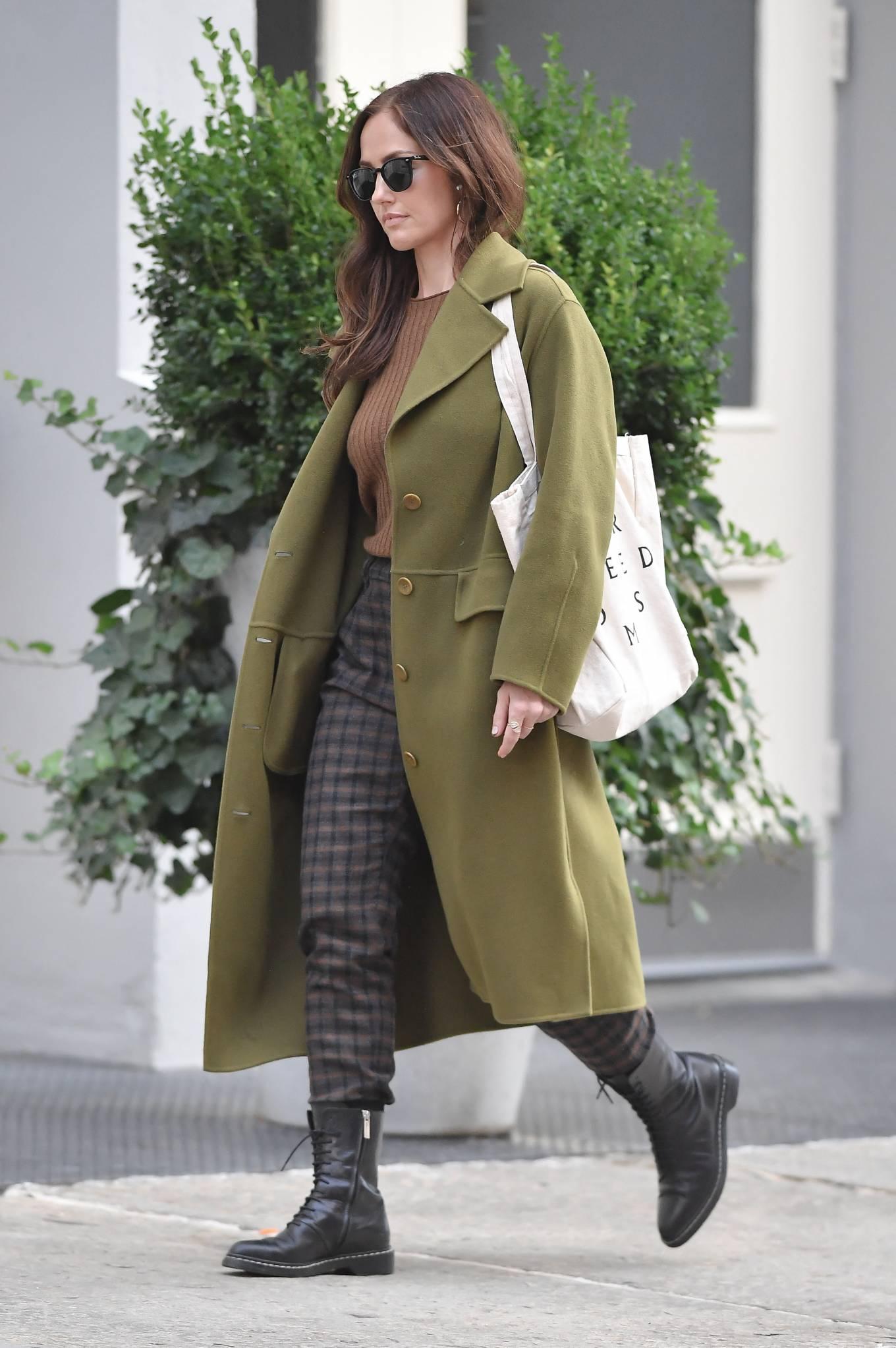 Minka Kelly 2021 : Minka Kelly – In olive green runs errands in New York-06