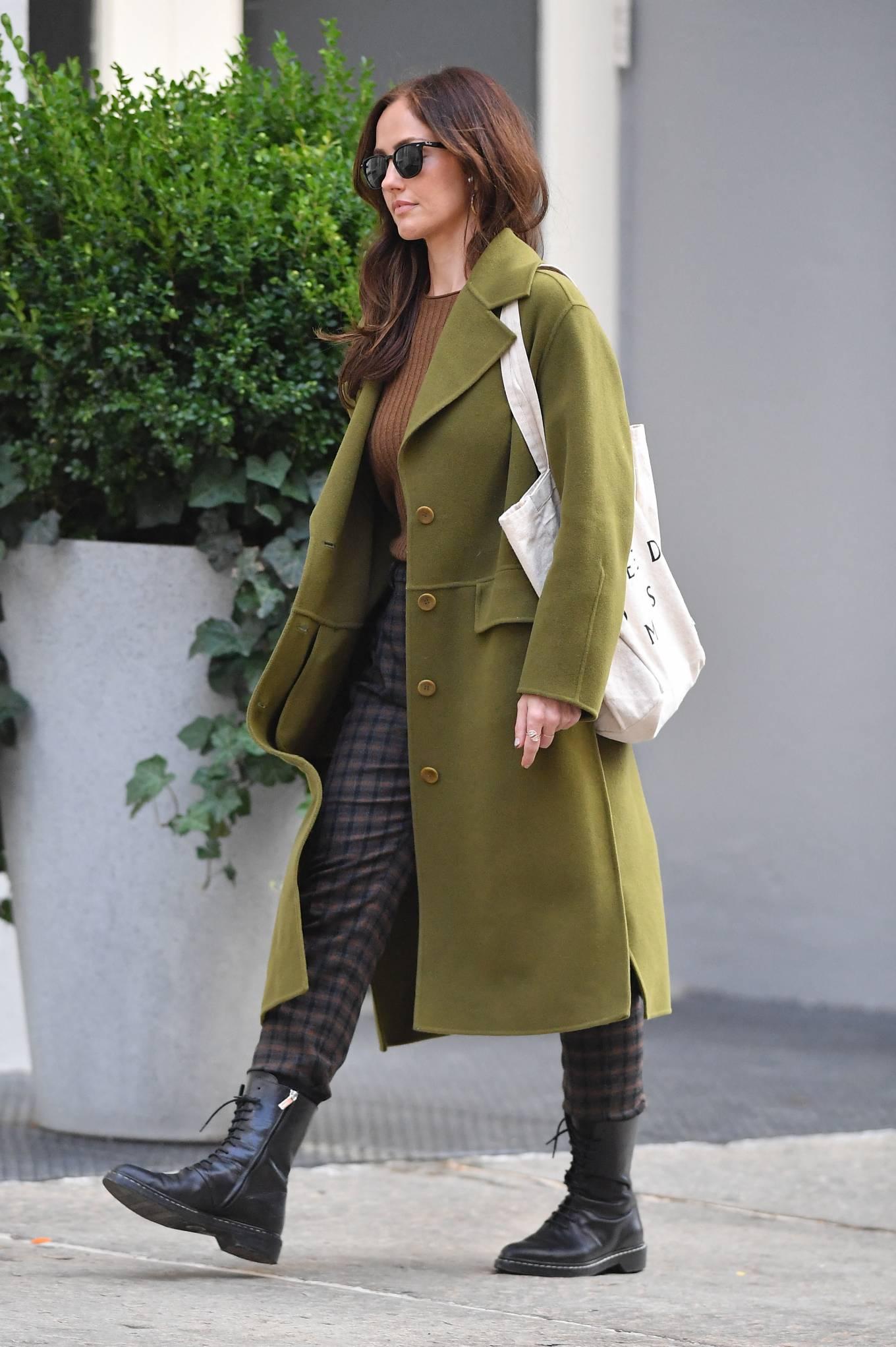 Minka Kelly 2021 : Minka Kelly – In olive green runs errands in New York-08
