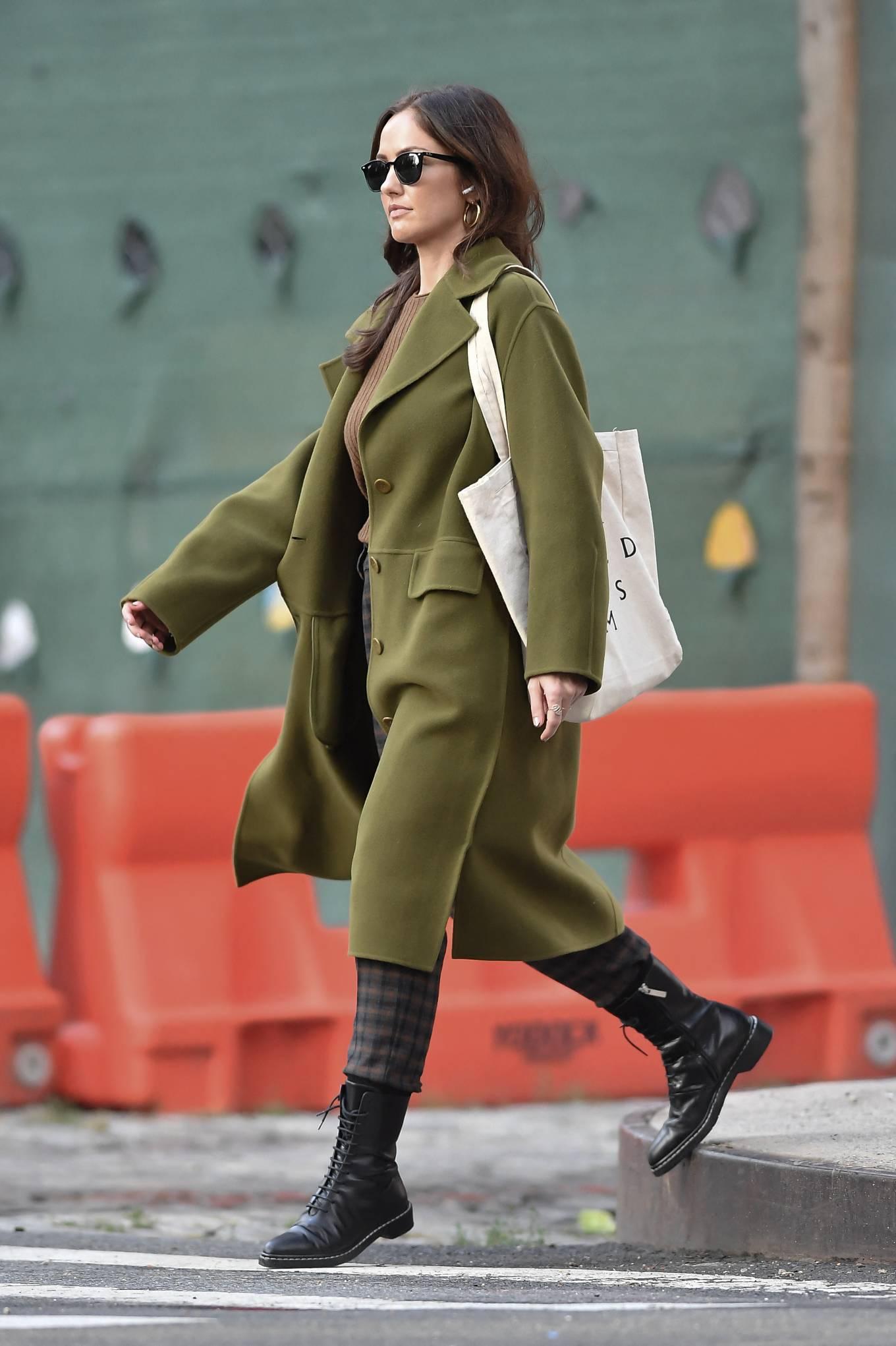 Minka Kelly 2021 : Minka Kelly – In olive green runs errands in New York-09