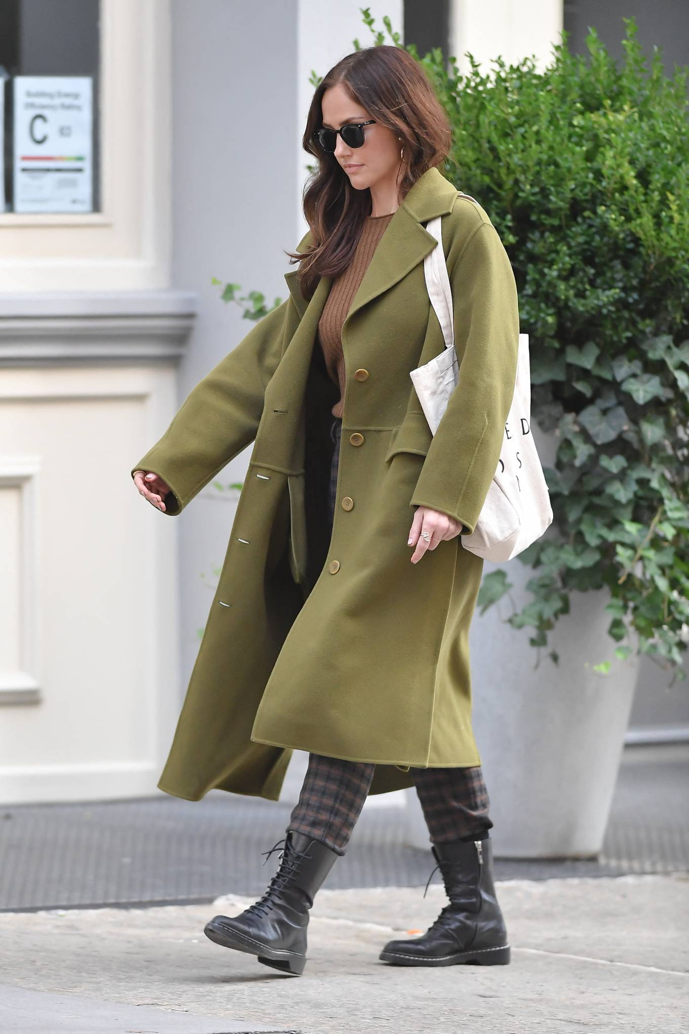Minka Kelly 2021 : Minka Kelly – In olive green runs errands in New York-10