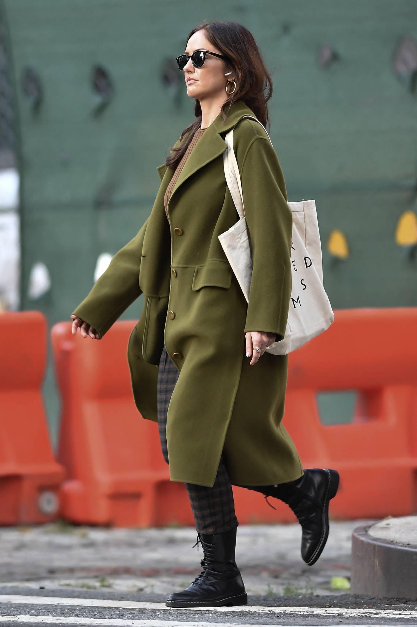 Minka Kelly 2021 : Minka Kelly – In olive green runs errands in New York-11