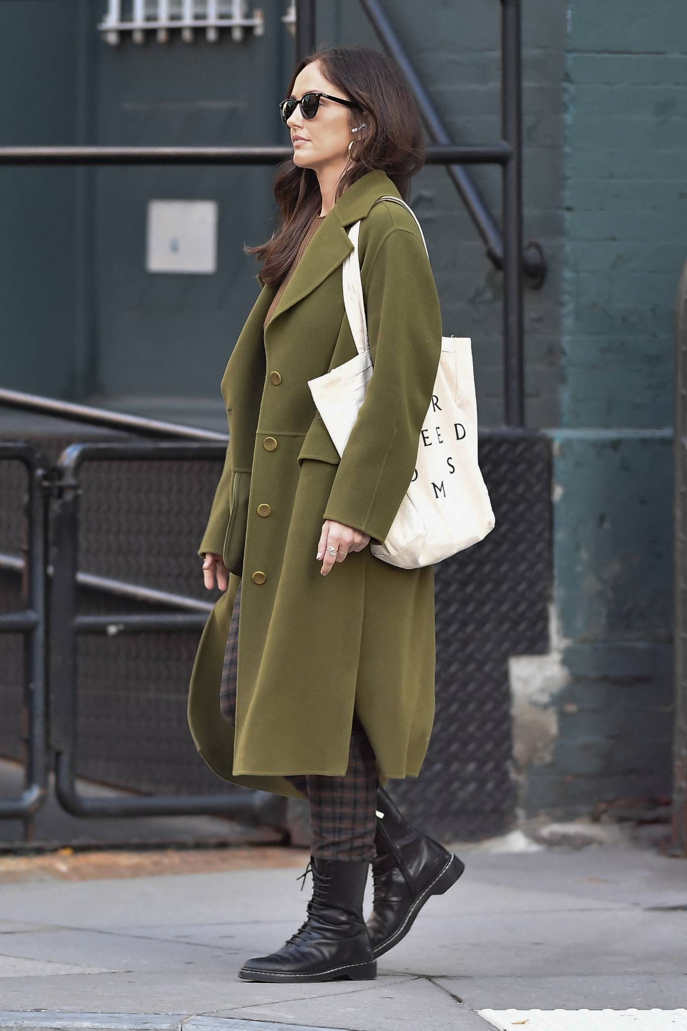Minka Kelly 2021 : Minka Kelly – In olive green runs errands in New York-13