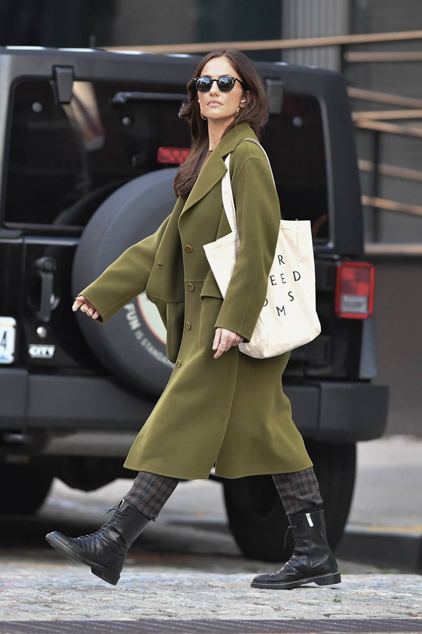 Minka Kelly 2021 : Minka Kelly – In olive green runs errands in New York-14