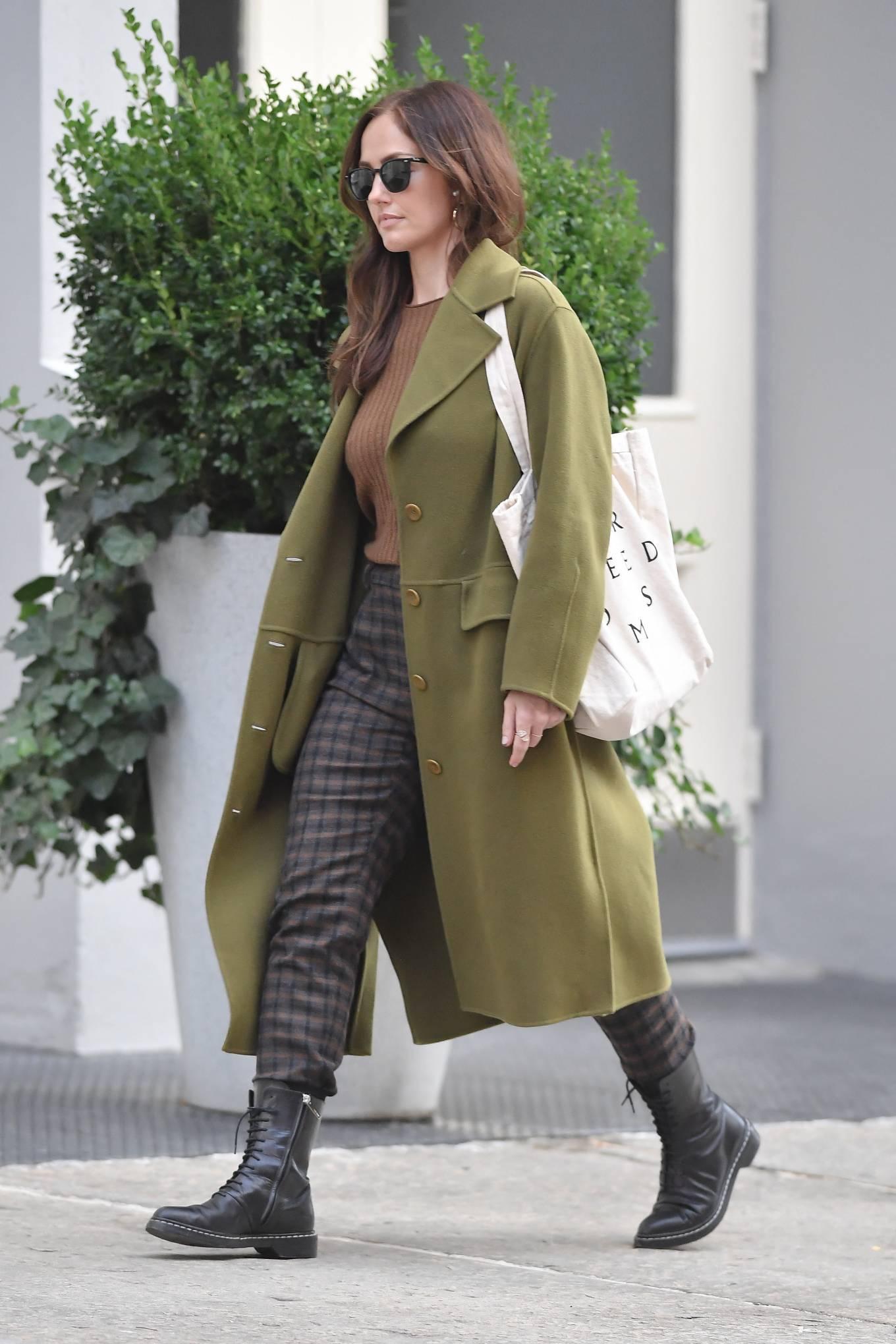 Minka Kelly 2021 : Minka Kelly – In olive green runs errands in New York-15