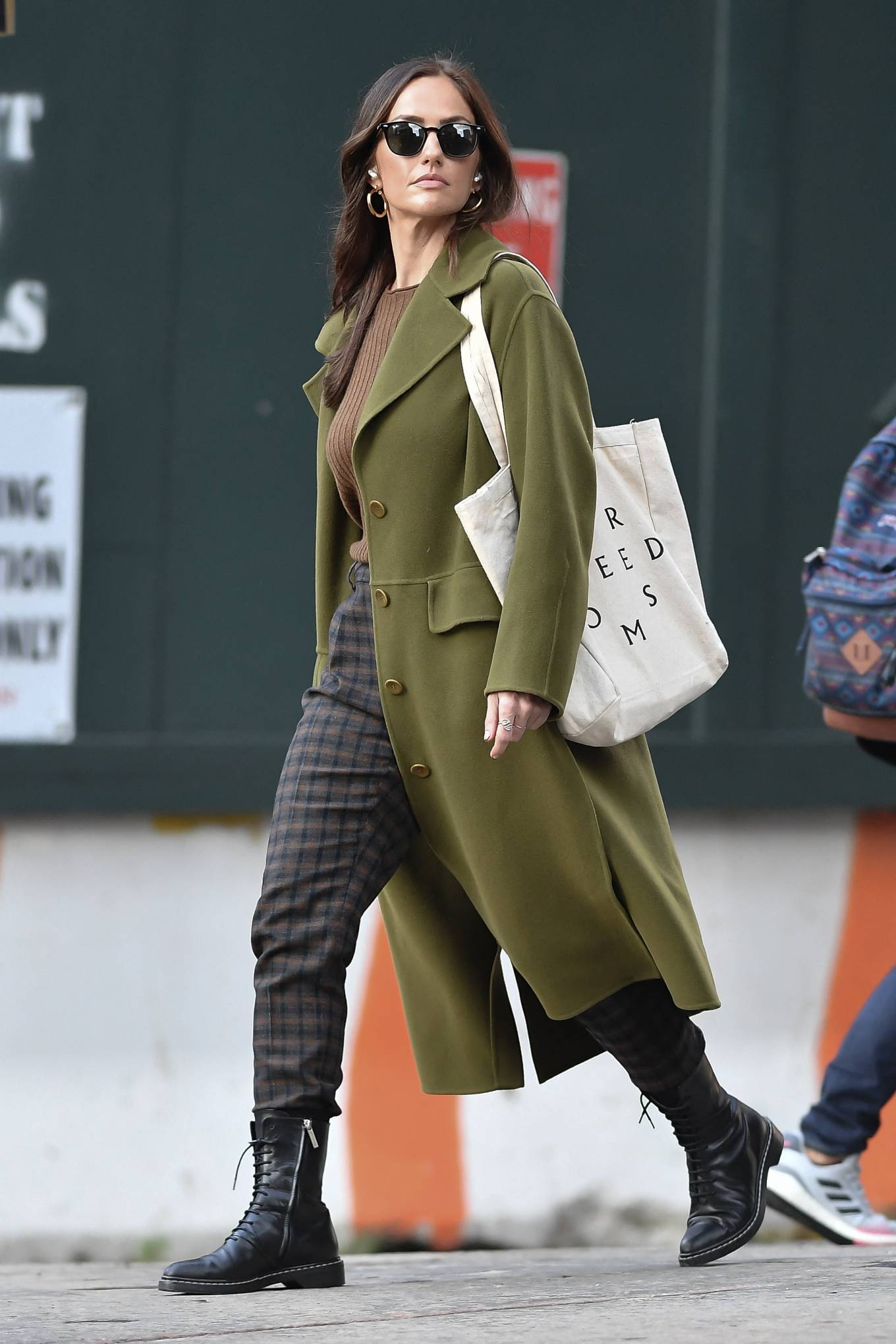 Minka Kelly 2021 : Minka Kelly – In olive green runs errands in New York-16
