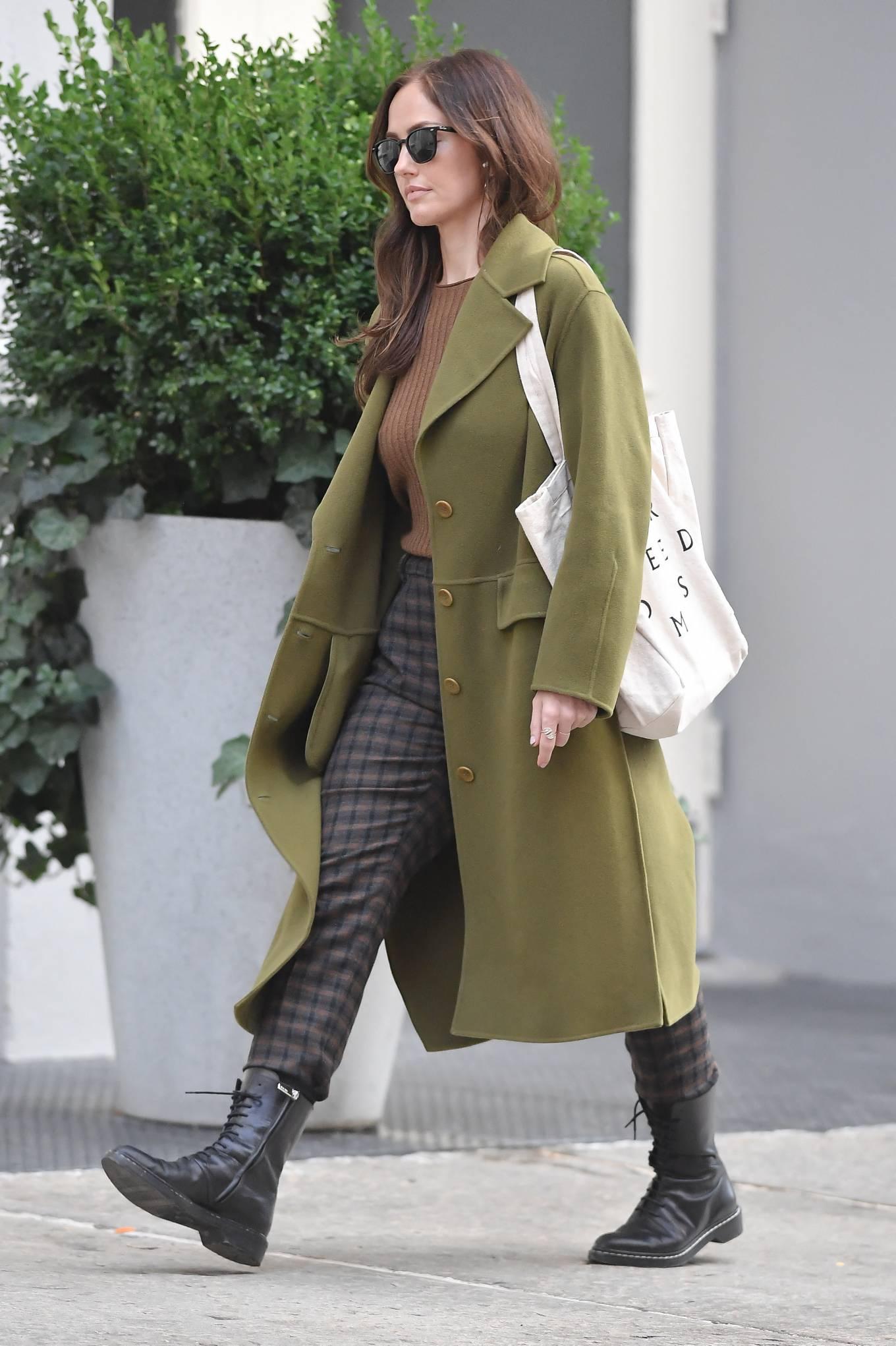 Minka Kelly 2021 : Minka Kelly – In olive green runs errands in New York-17
