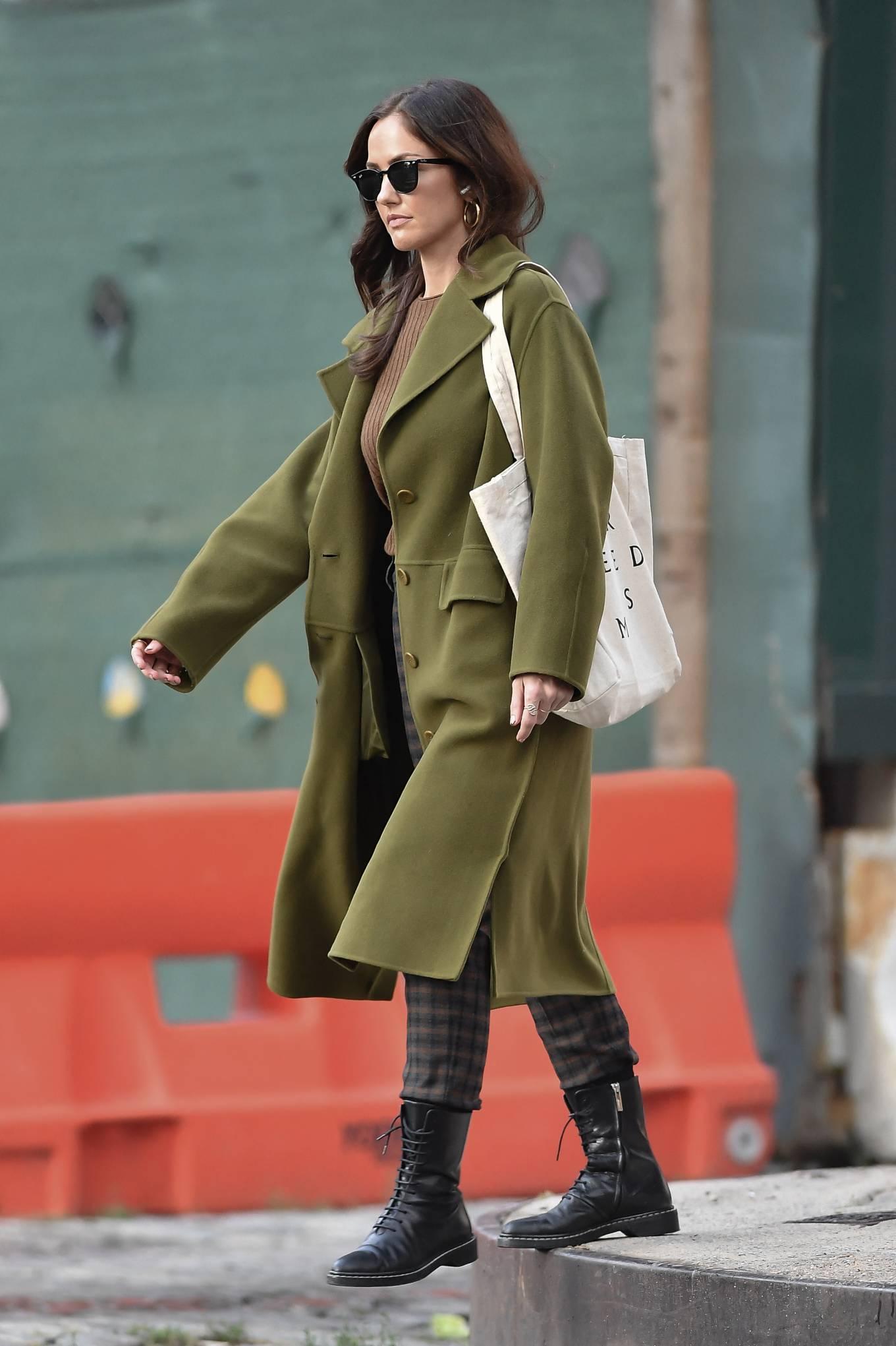 Minka Kelly 2021 : Minka Kelly – In olive green runs errands in New York-20