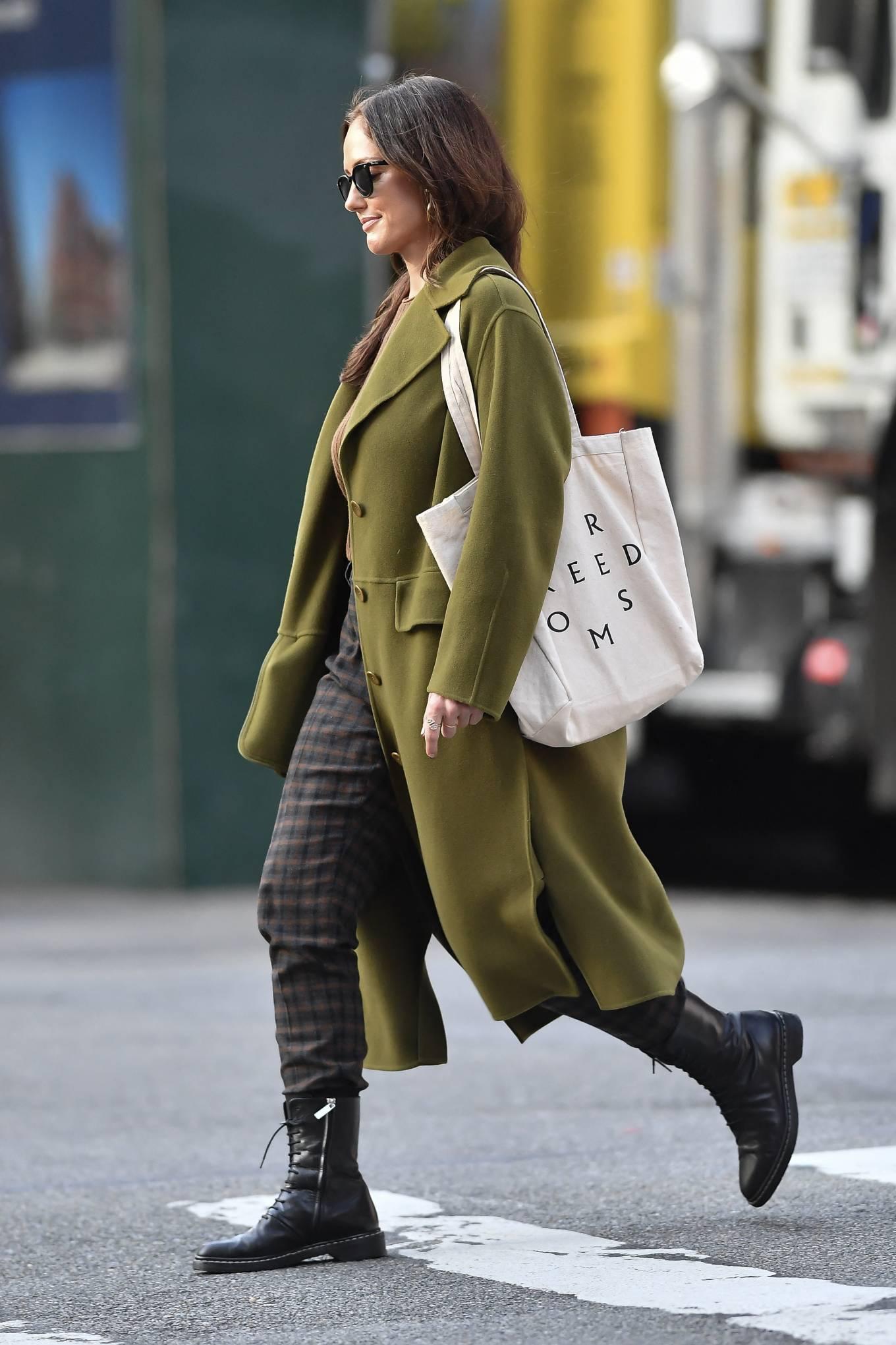 Minka Kelly 2021 : Minka Kelly – In olive green runs errands in New York-21