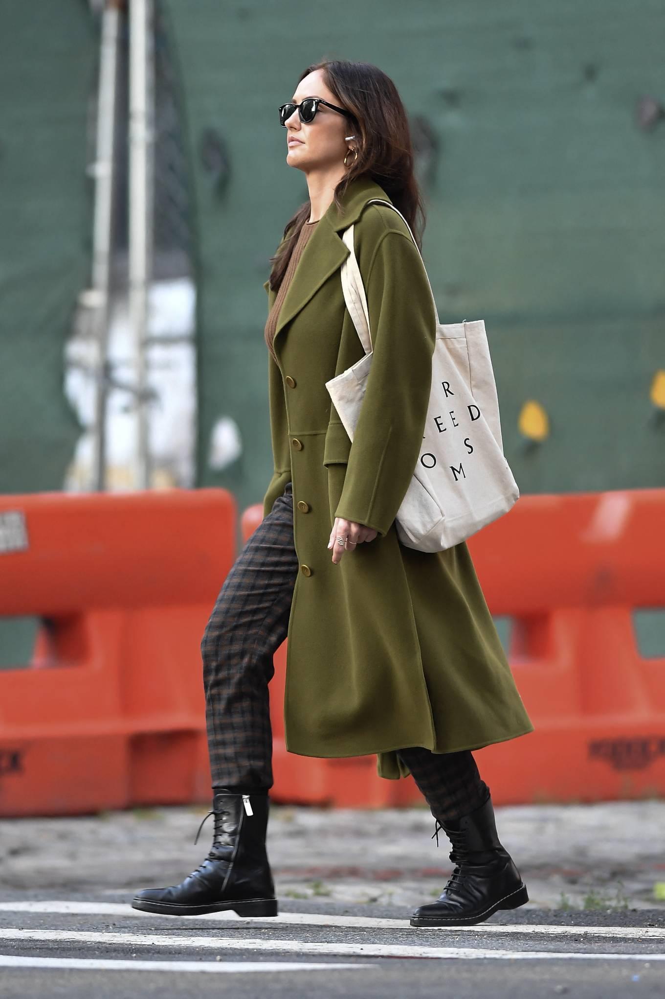 Minka Kelly 2021 : Minka Kelly – In olive green runs errands in New York-22