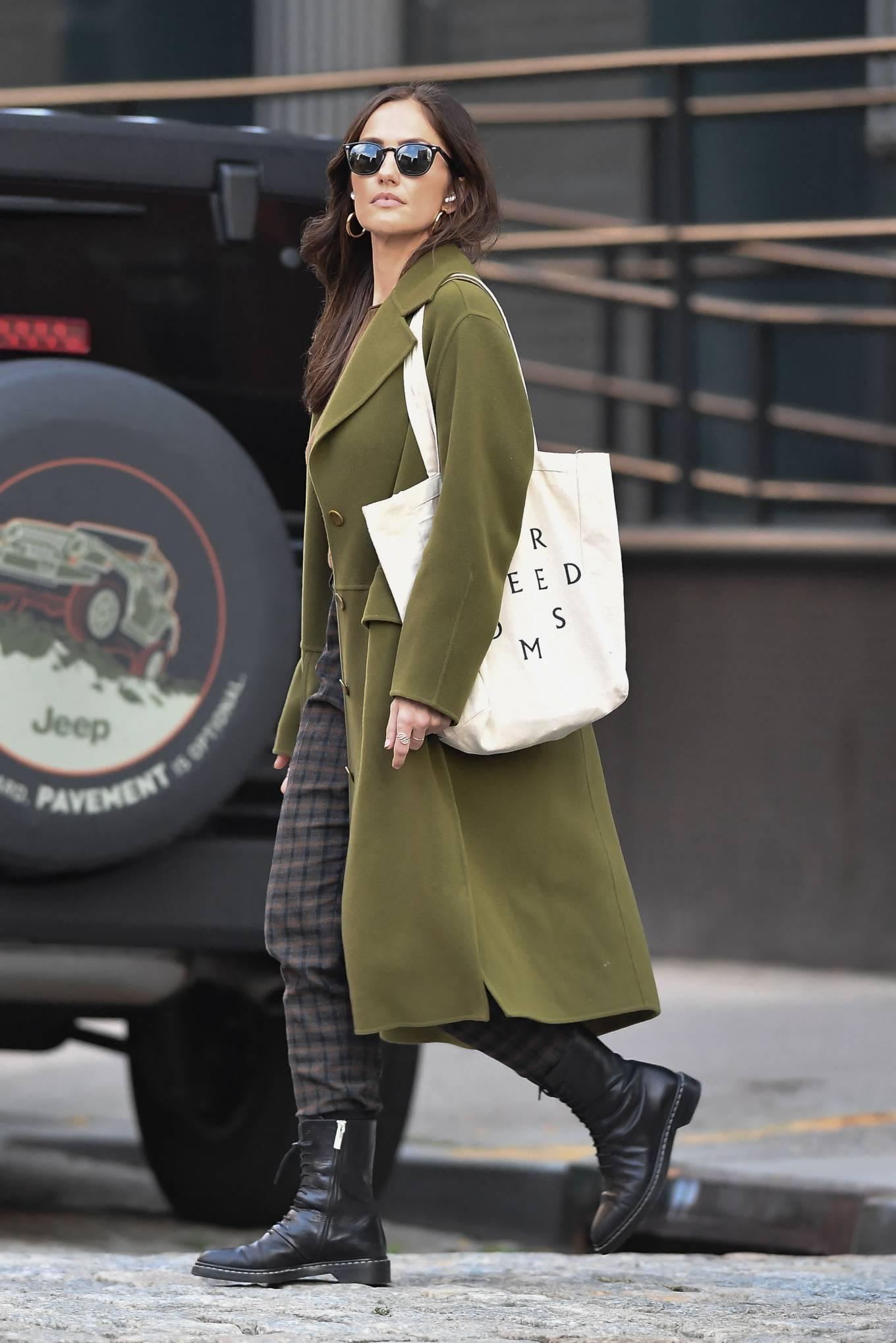 Minka Kelly 2021 : Minka Kelly – In olive green runs errands in New York-23