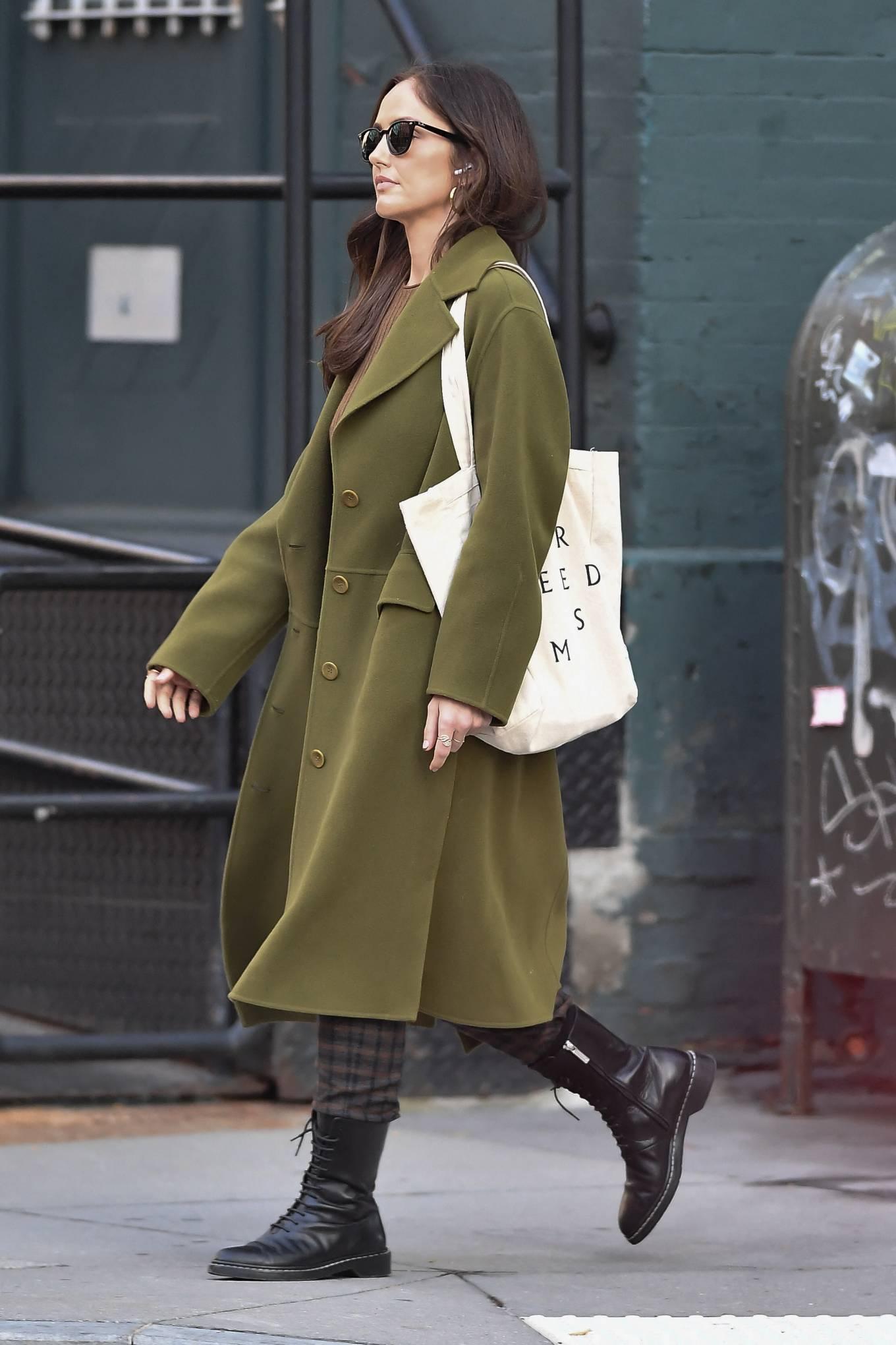 Minka Kelly 2021 : Minka Kelly – In olive green runs errands in New York-25