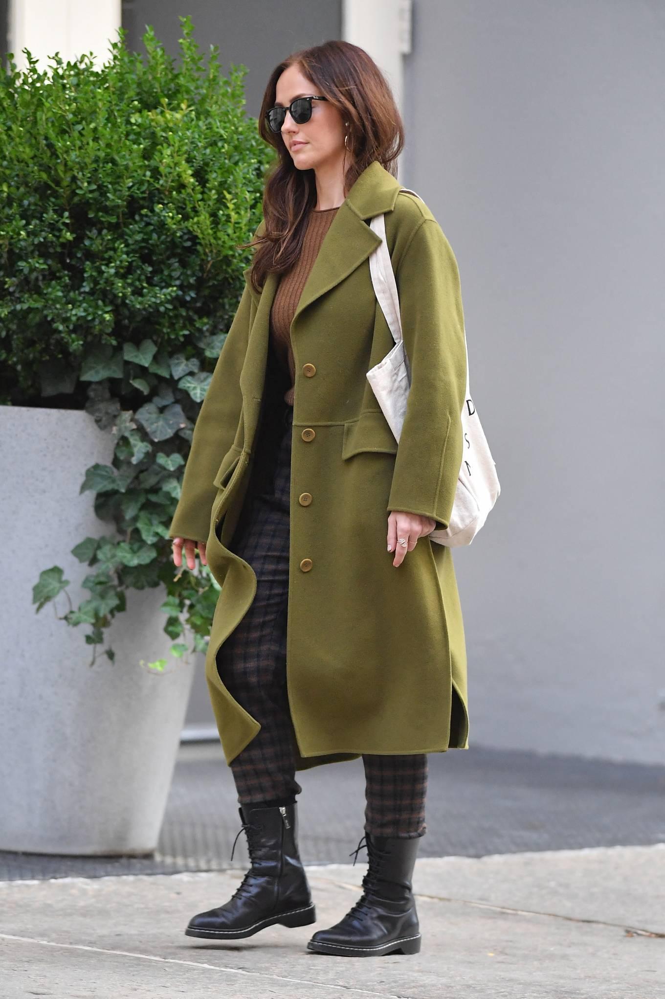 Minka Kelly 2021 : Minka Kelly – In olive green runs errands in New York-26