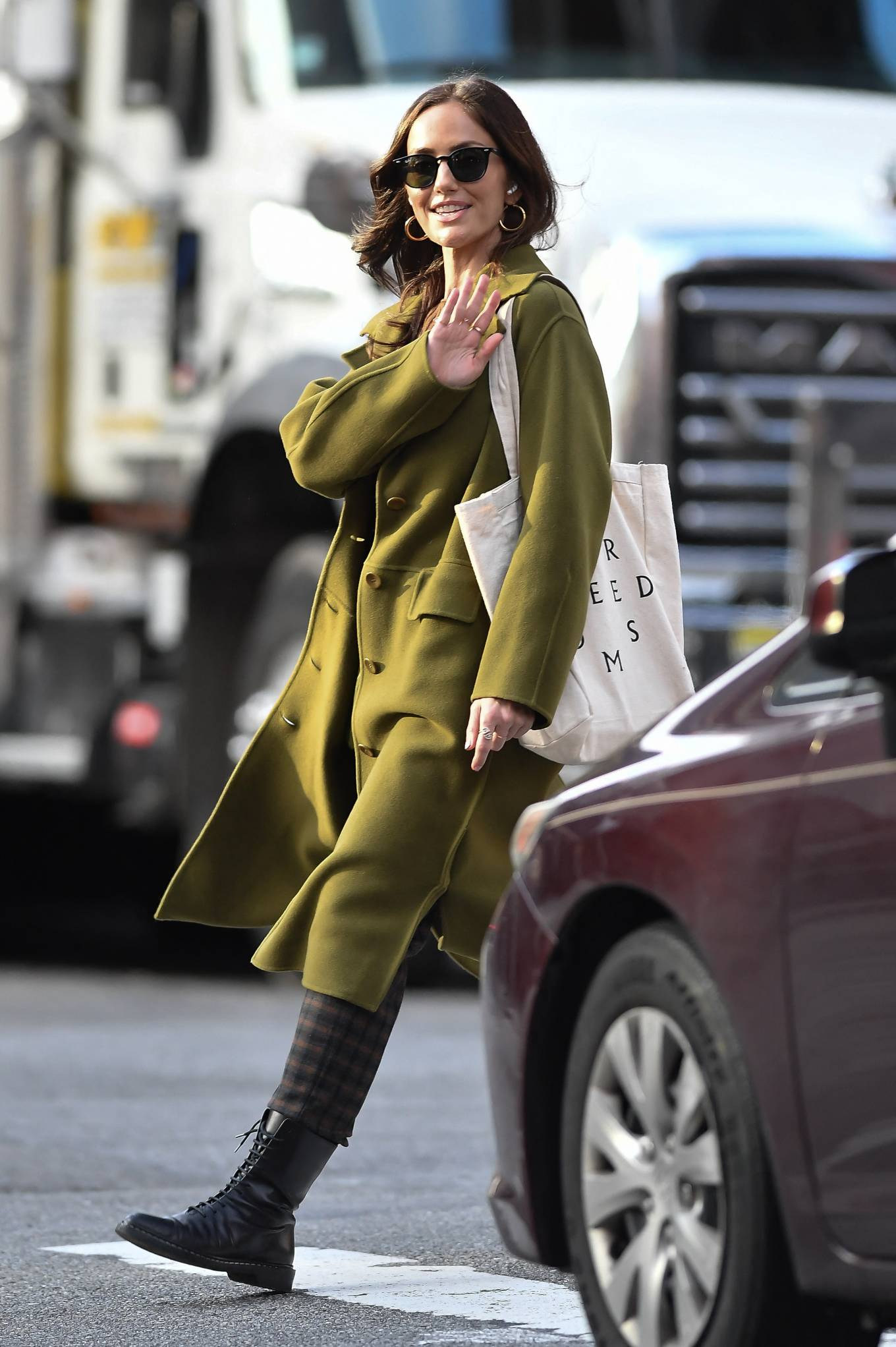 Minka Kelly 2021 : Minka Kelly – In olive green runs errands in New York-27