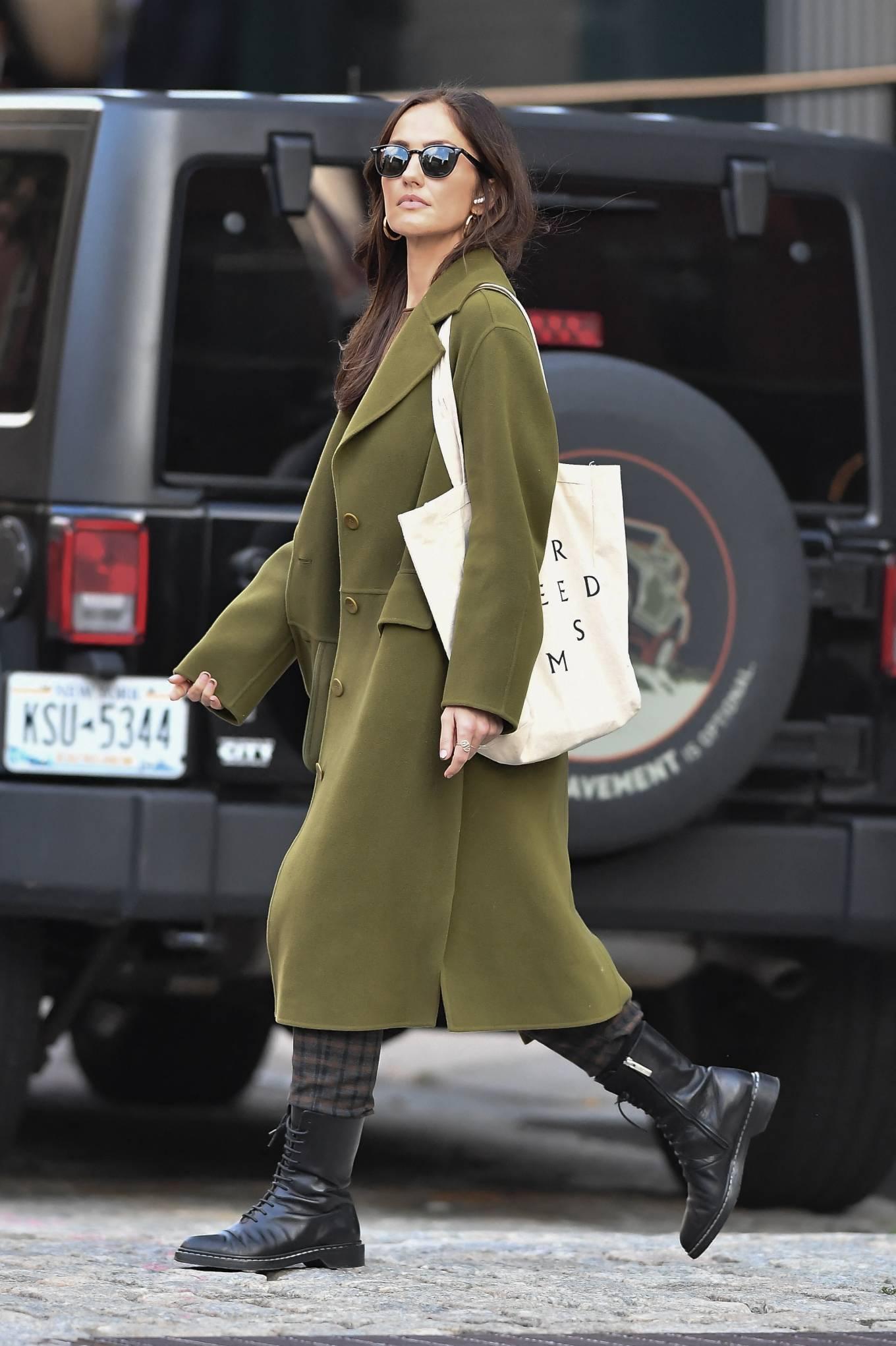 Minka Kelly 2021 : Minka Kelly – In olive green runs errands in New York-28