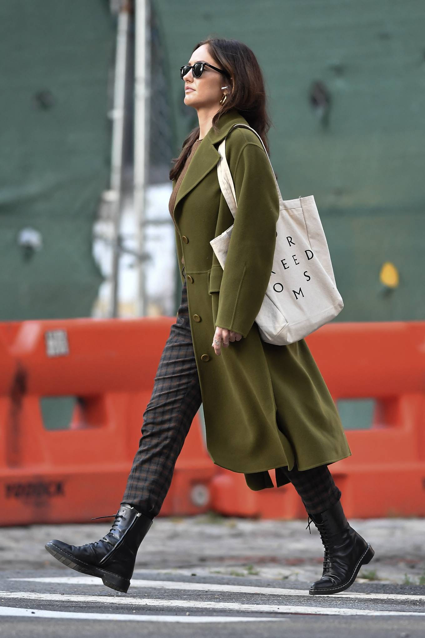 Minka Kelly 2021 : Minka Kelly – In olive green runs errands in New York-29