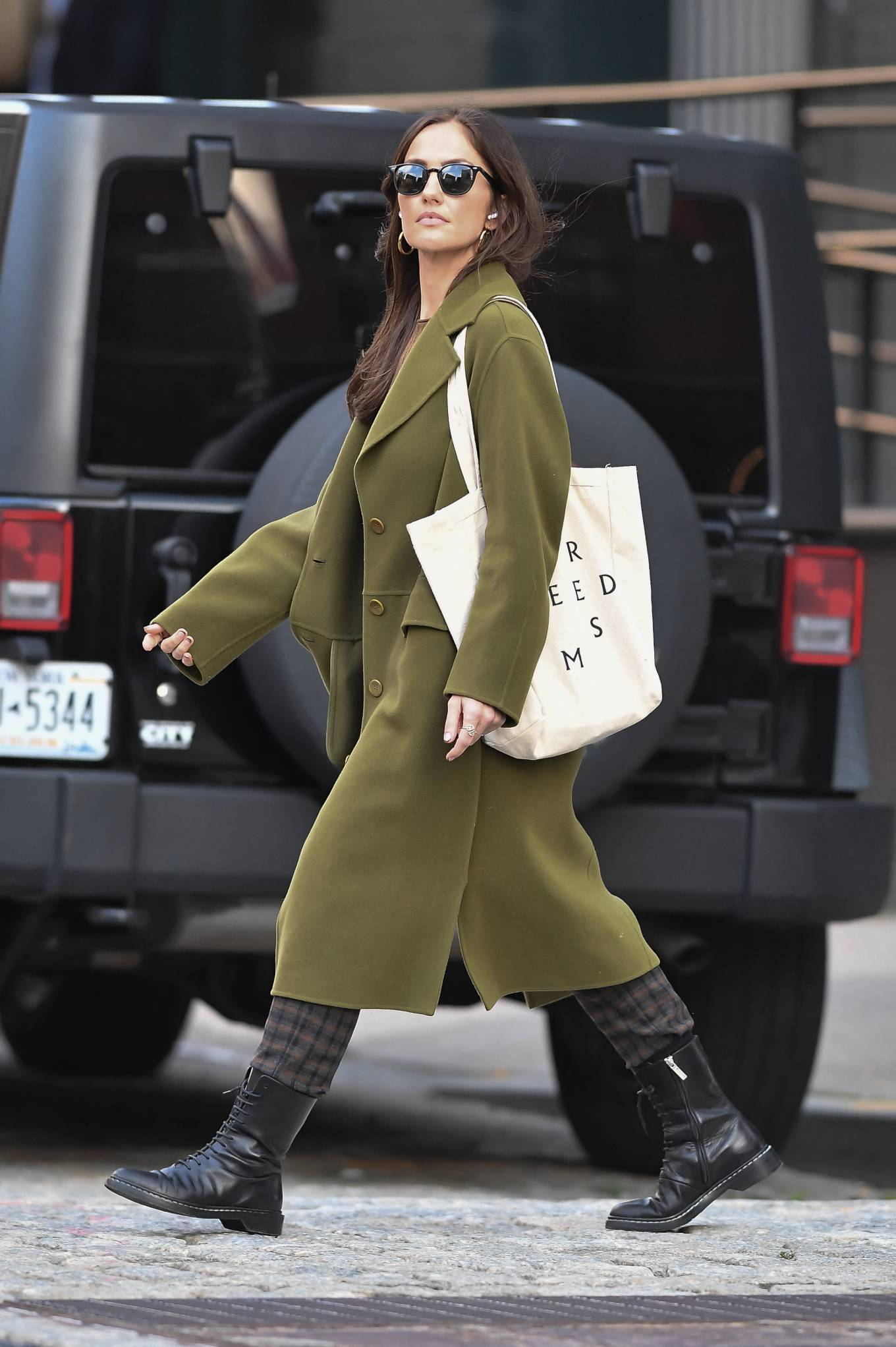 Minka Kelly 2021 : Minka Kelly – In olive green runs errands in New York-31