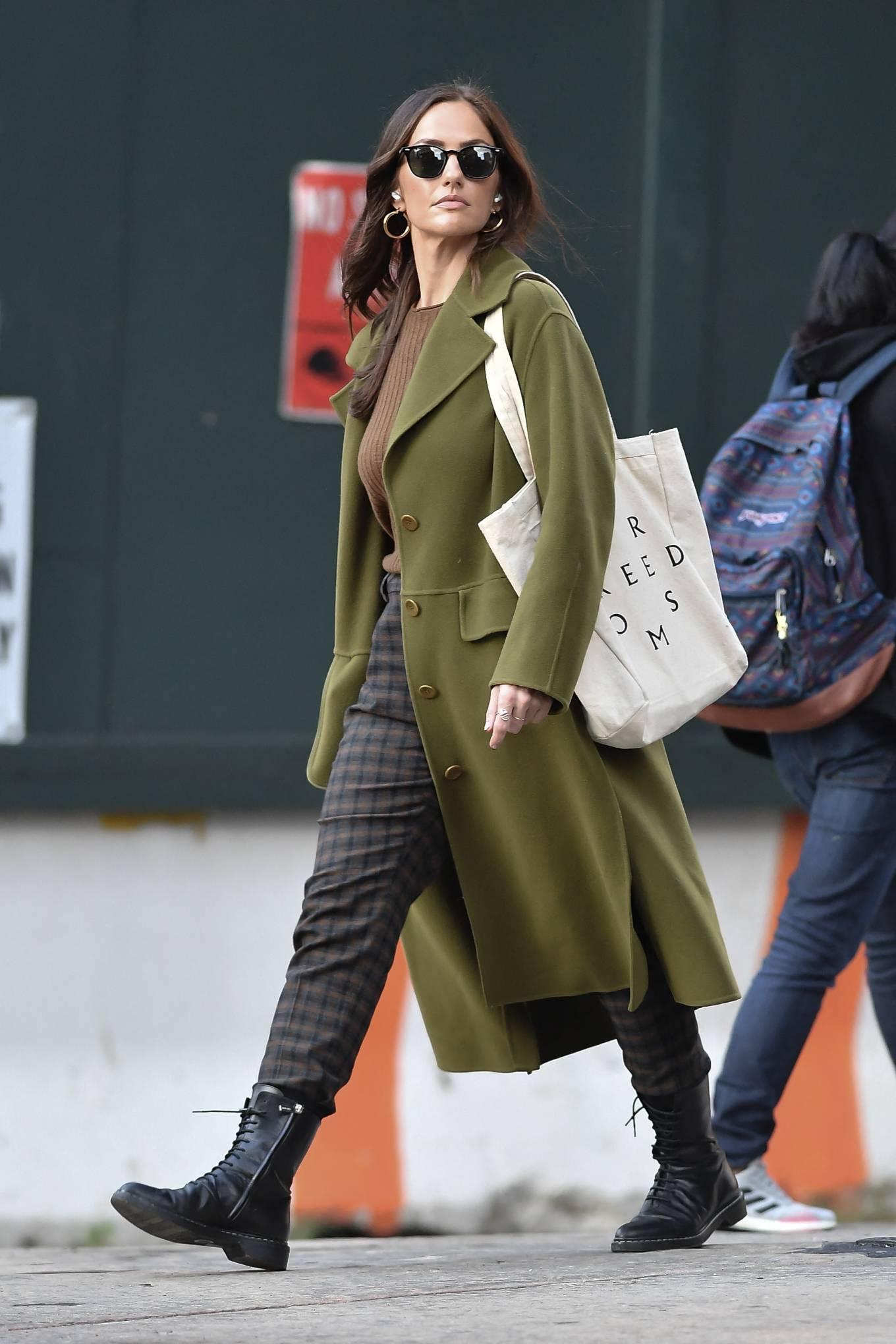 Minka Kelly 2021 : Minka Kelly – In olive green runs errands in New York-32