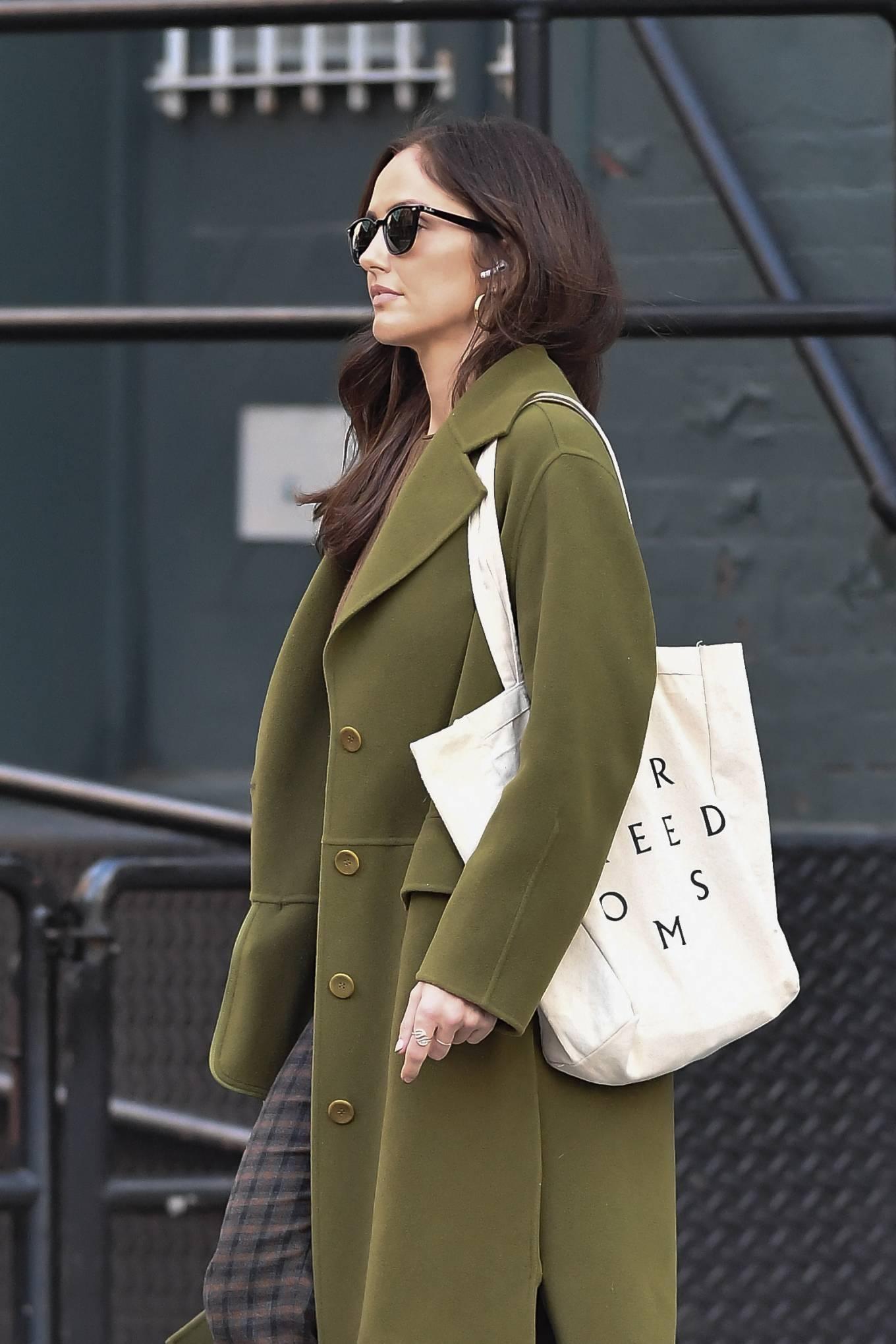 Minka Kelly 2021 : Minka Kelly – In olive green runs errands in New York-34