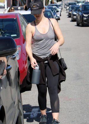Minka Kelly in Tights Leaves work out in West Hollywood