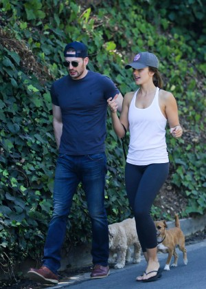 Minka Kelly in Tights Walking her dog in West Hollywood