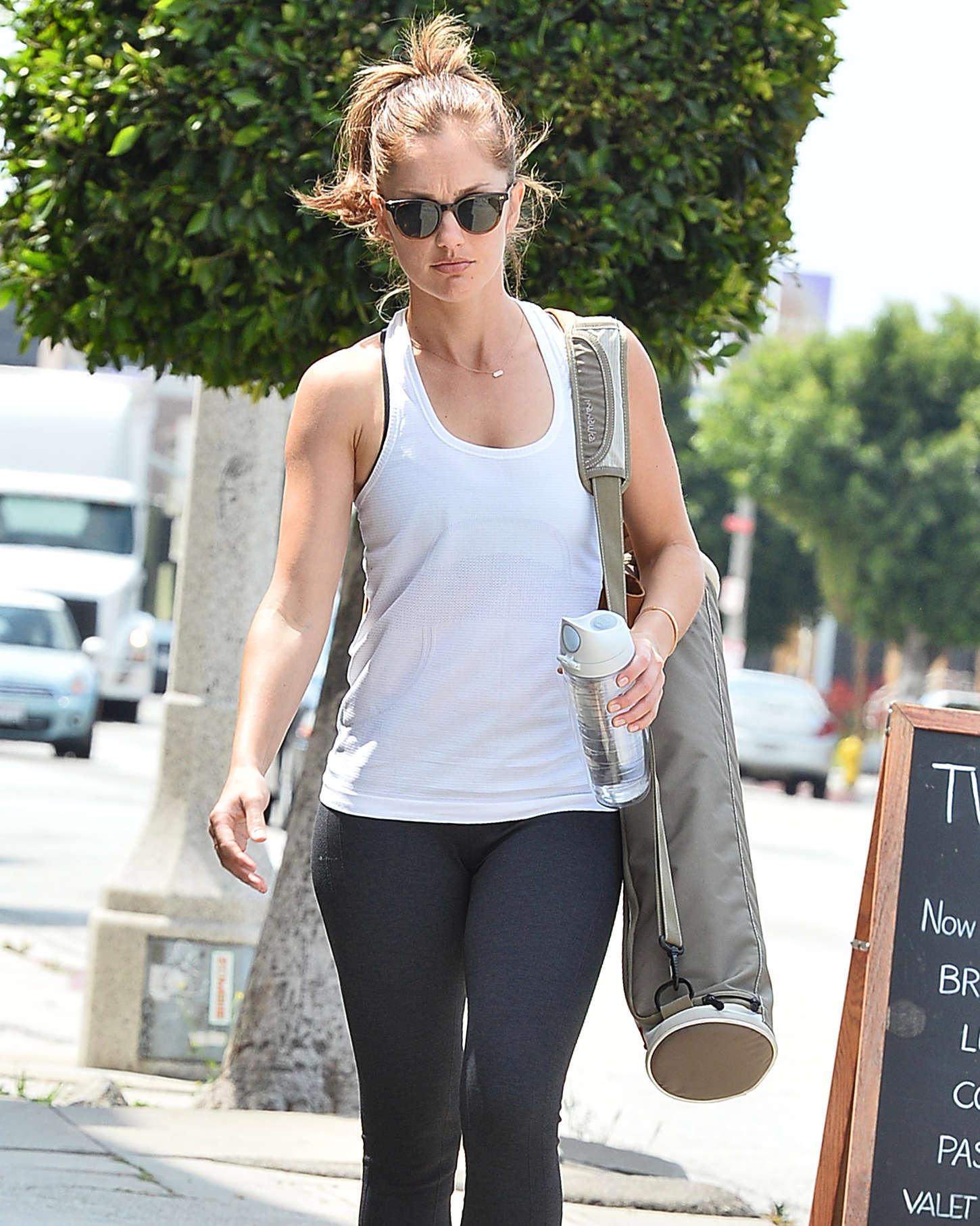 Minka Kelly in Tights Leaving yoga class in LA