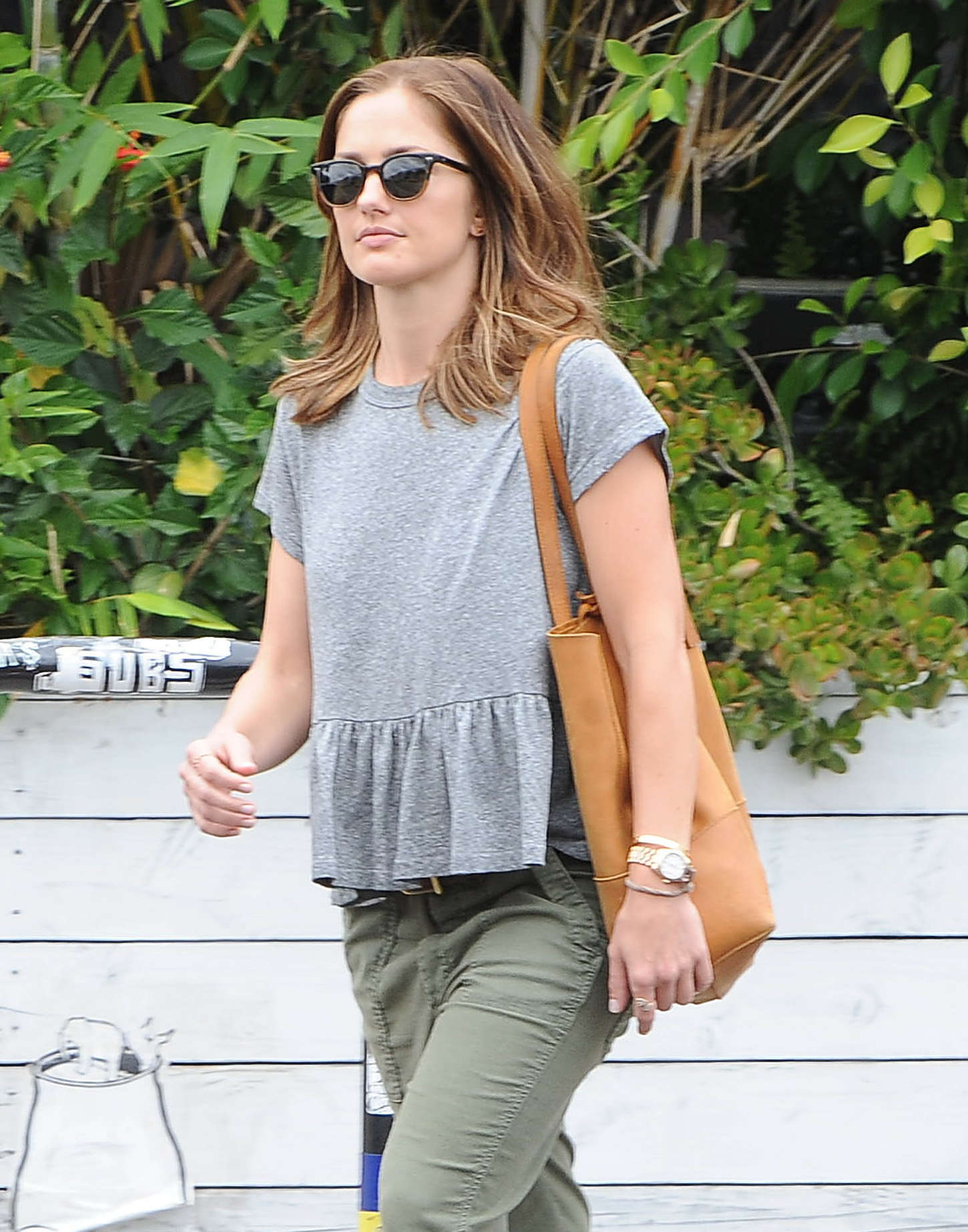Minka Kelly in Green Pants out in Los Angeles