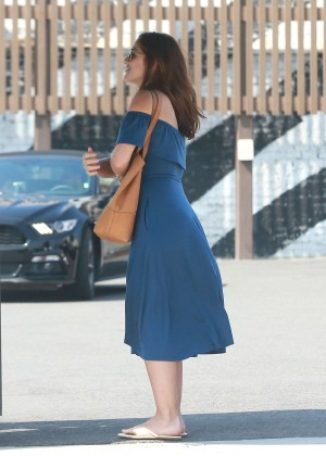 Minka Kelly in Blue Dress Out in West Hollywood